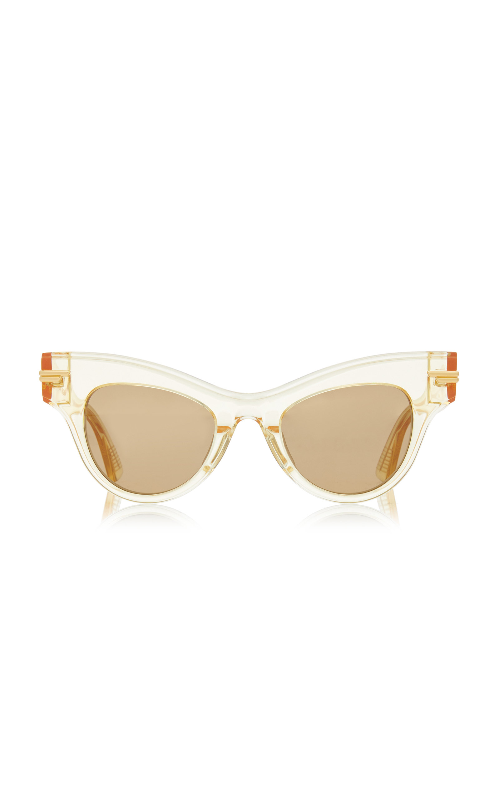 Bottega Veneta - Women's Cat-Eye Clear Acetate Sunglasses - Yellow - Moda Operandi