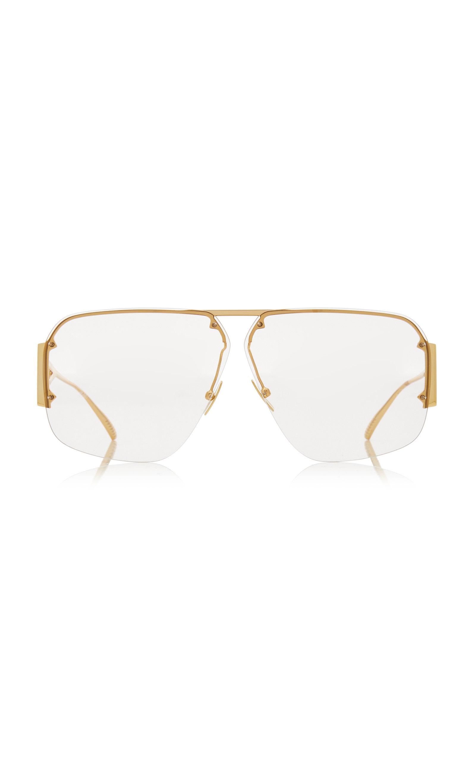 Bottega Veneta - Women's Pilot-Frame Metal Sunglasses - Gold - Moda Operandi