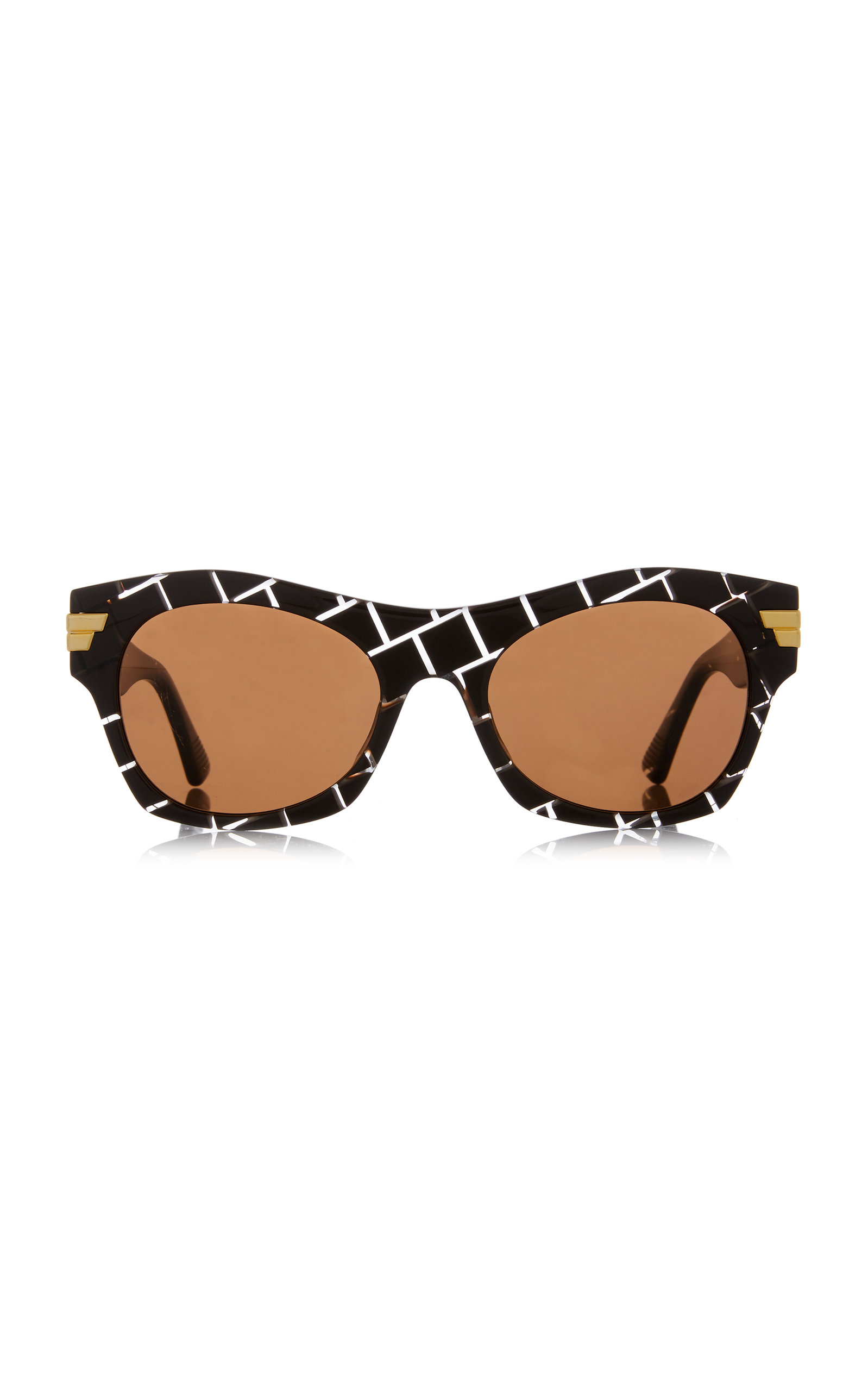 Bottega Veneta - Women's Square-Frame Intrecciato Acetate Sunglasses - Brown - Moda Operandi