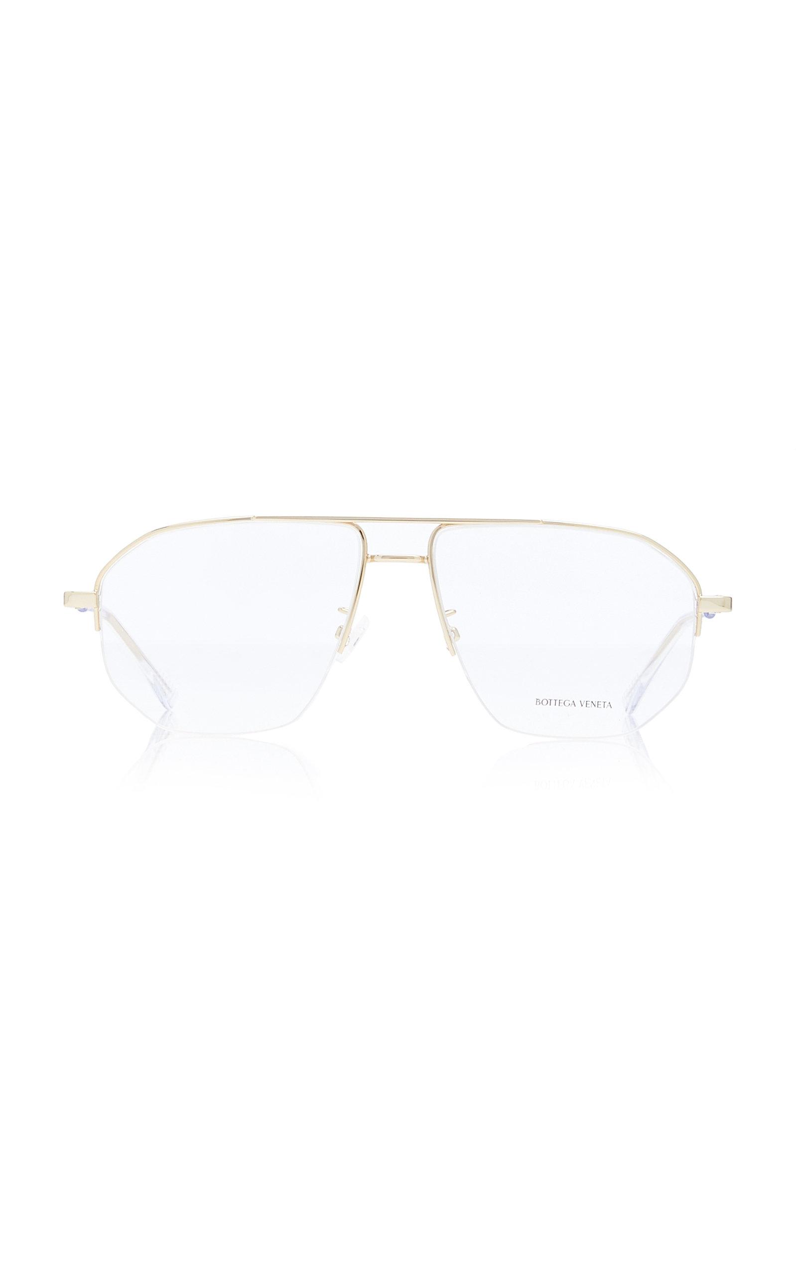 Bottega Veneta - Women's Aviator-Frame Metal Glasses - Gold - Moda Operandi