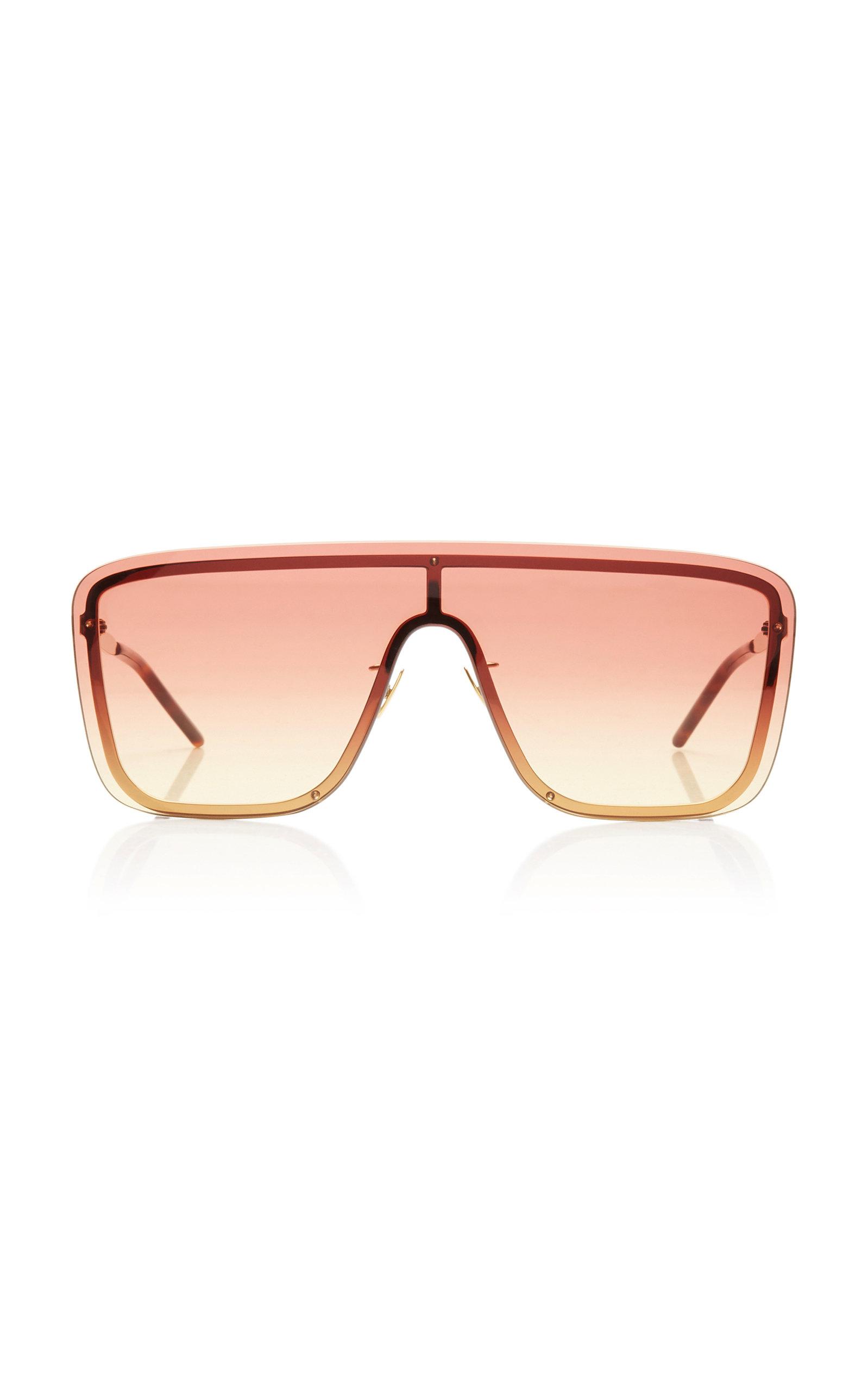 Saint Laurent - Women's Mask D-Frame Metal Sunglasses - Pink/green - Moda Operandi