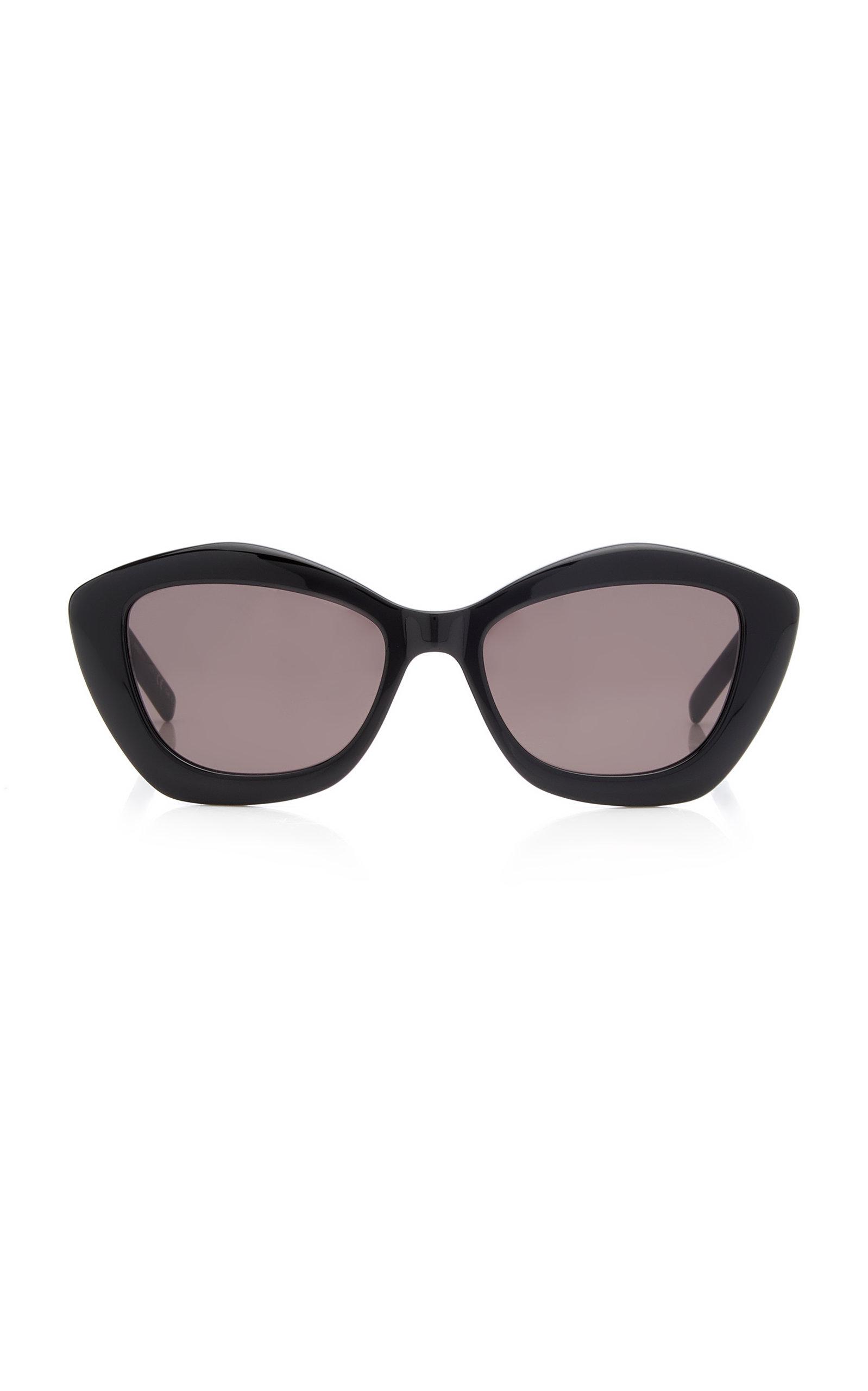 Saint Laurent - Women's Cat-Eye Acetate Sunglasses - Black/white - Moda Operandi
