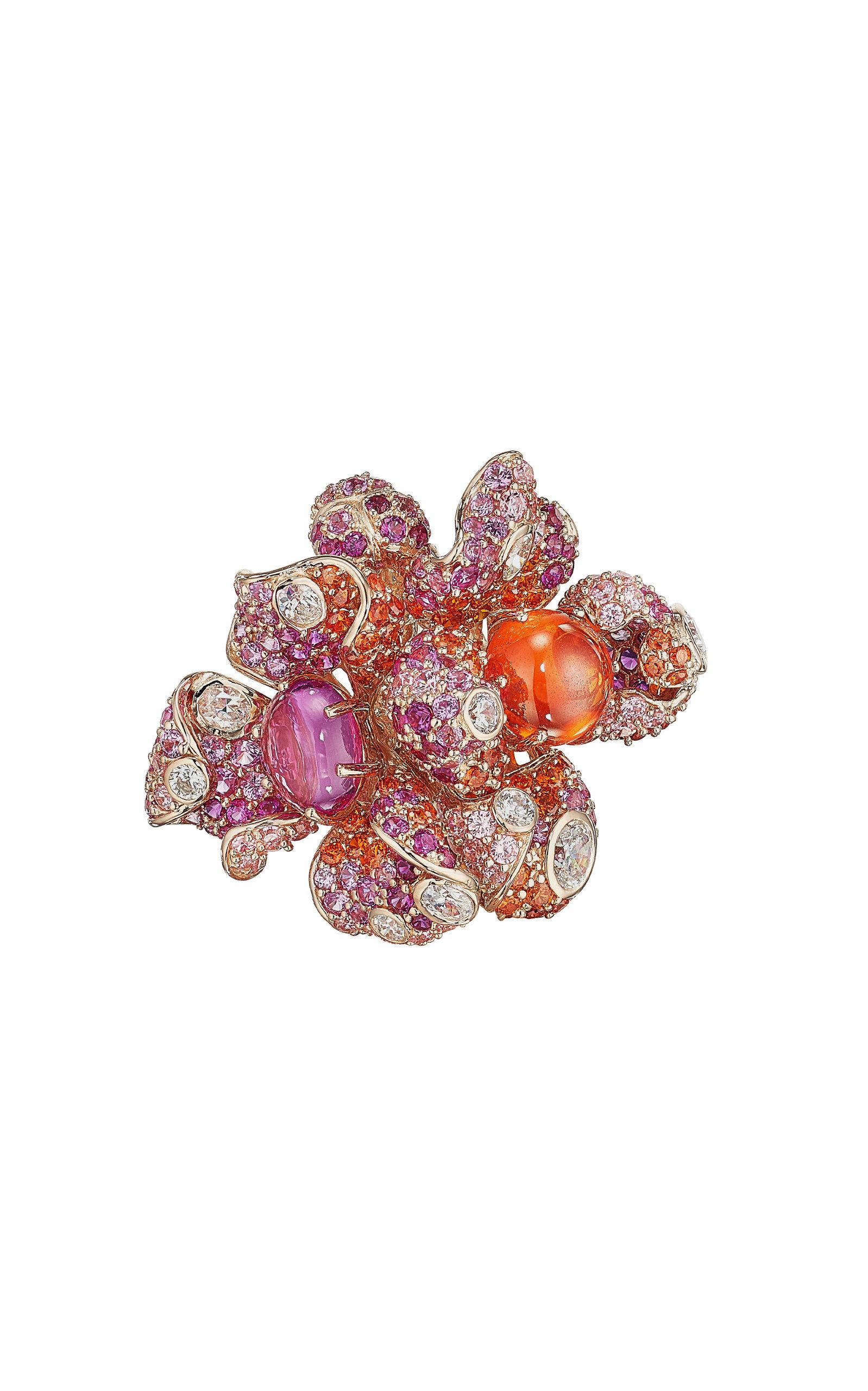 Women's Sunset Blossom 18K Rose Gold Multi-Stone Ring