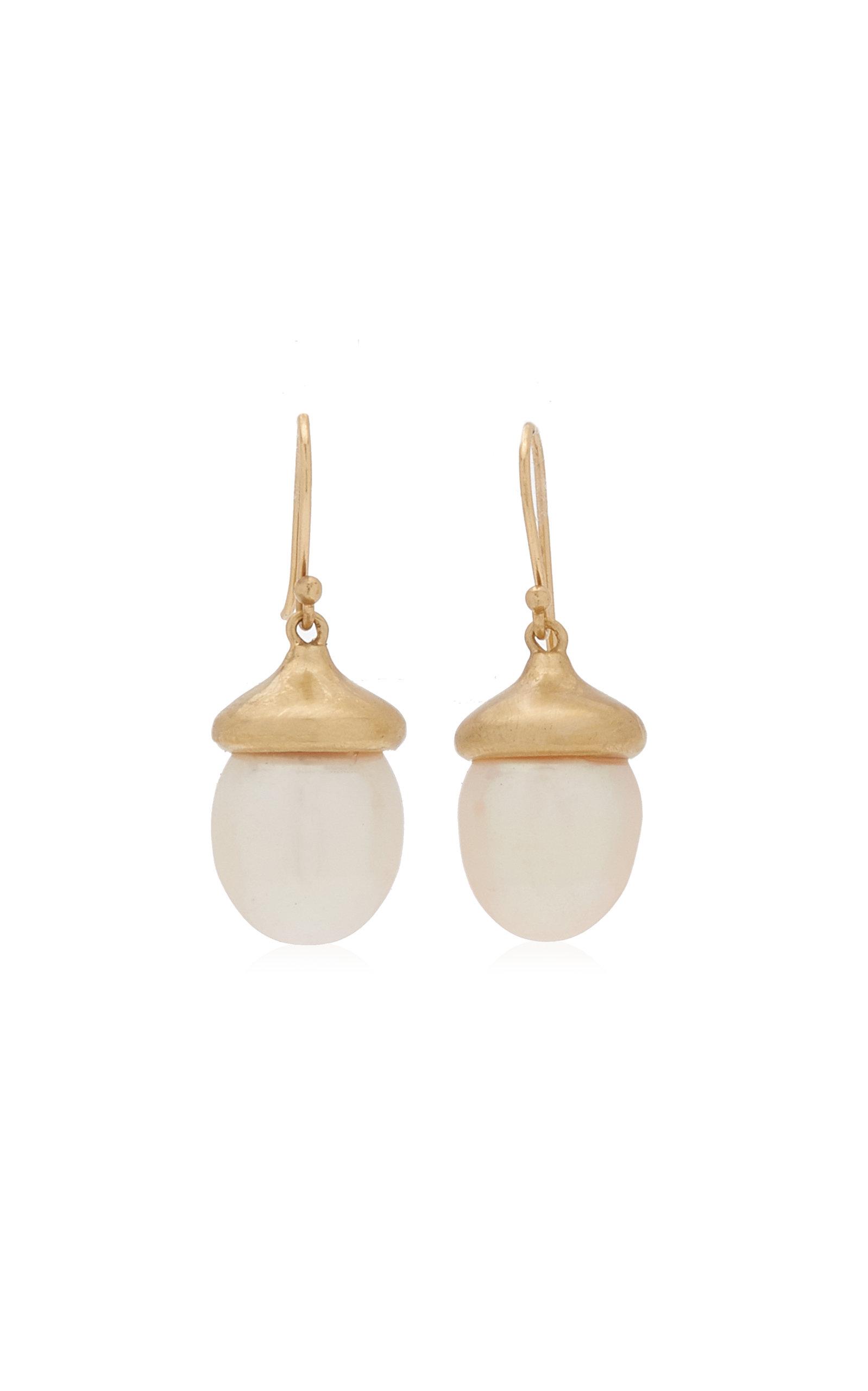 Women's Acorn 14K Yellow Gold Pearl Earrings