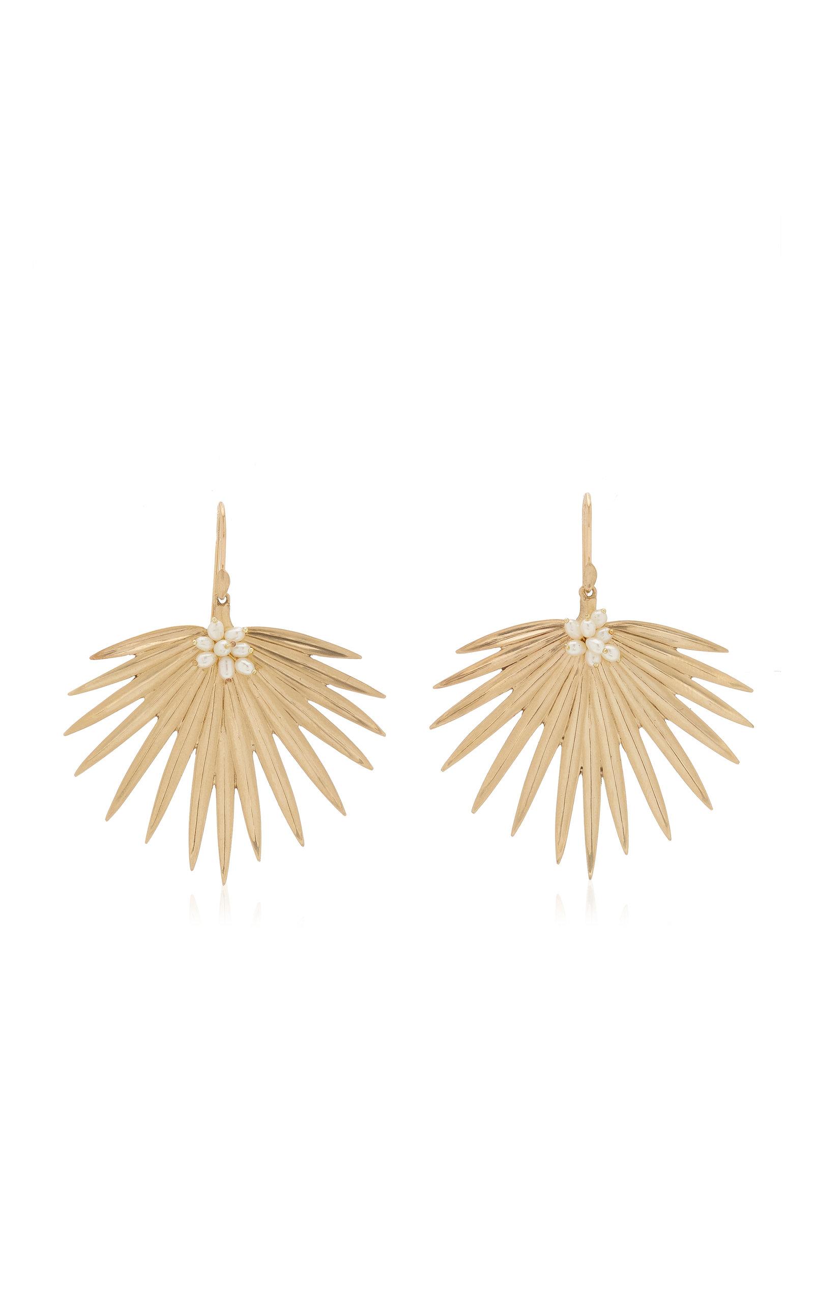 Women's Large Fan Palm 14K Yellow Gold Pearl Earrings