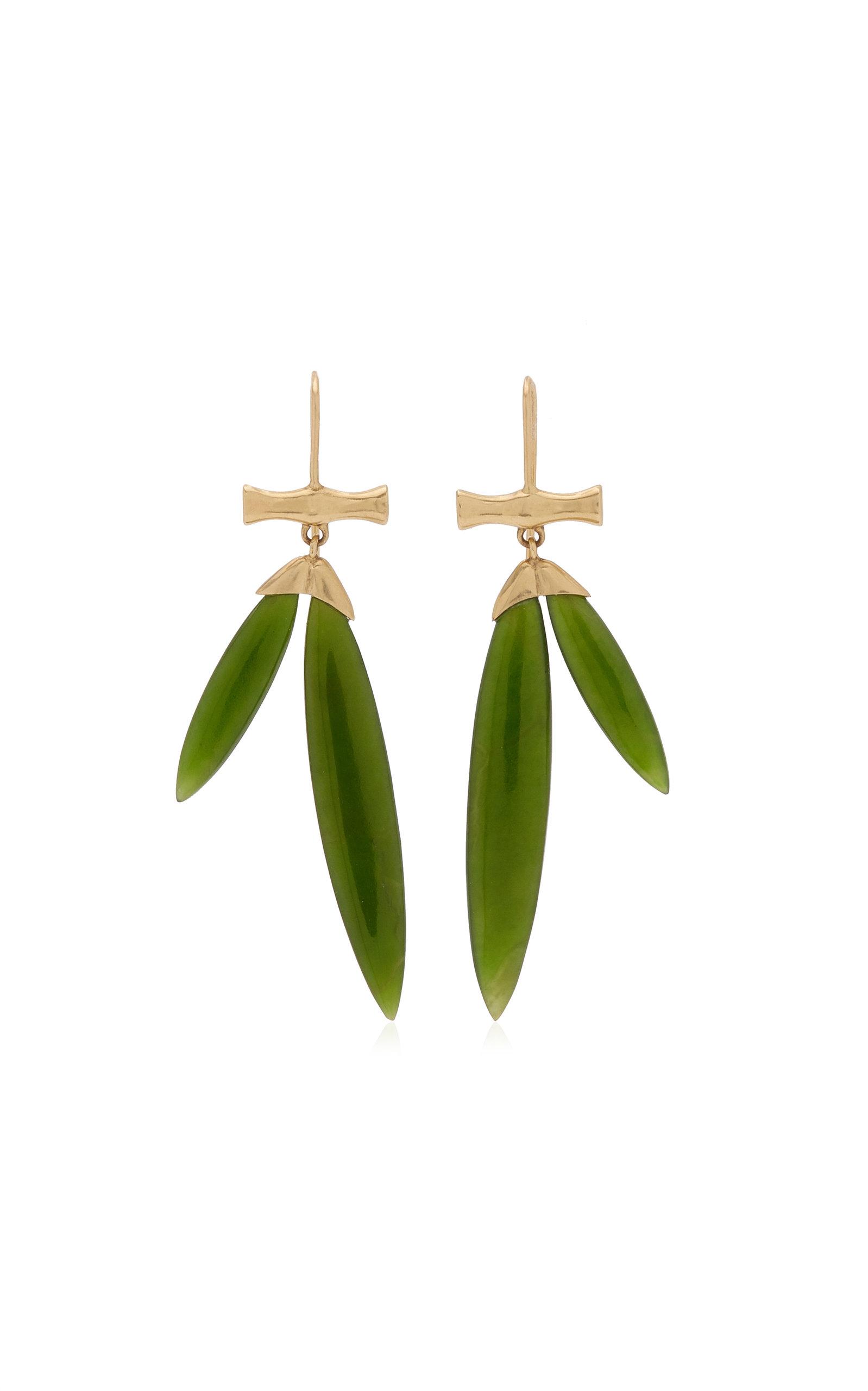Women's Bamboo 14K Yellow Gold Jade Earrings