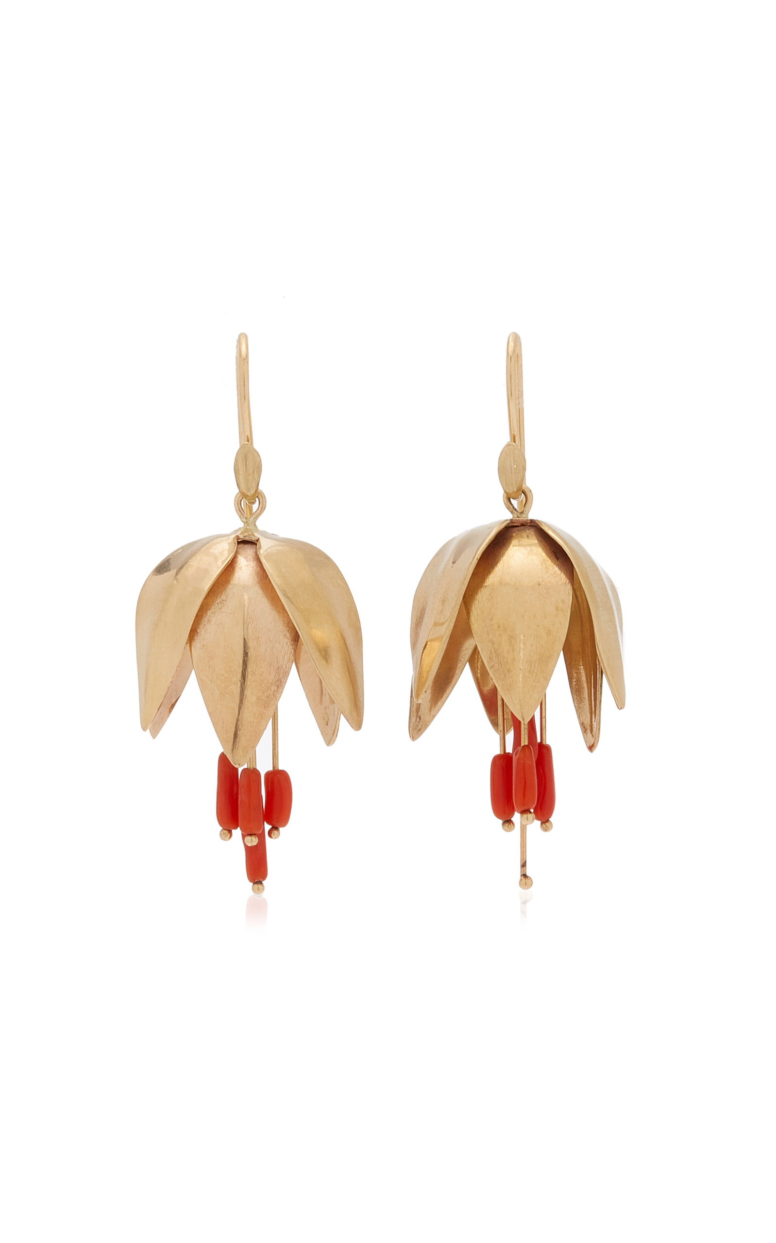 Women's Crown Imperial 14K Yellow Gold Coral Earrings