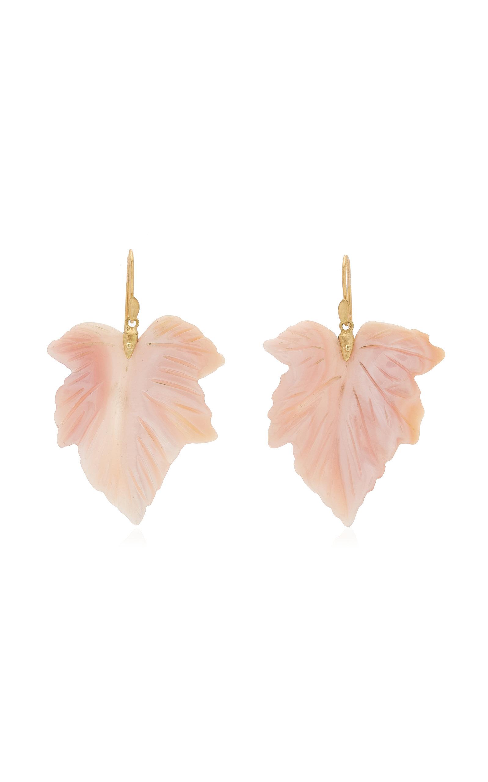 Women's Fancy Leaf 18K Yellow Gold Mother-Of-Pearl Earrings