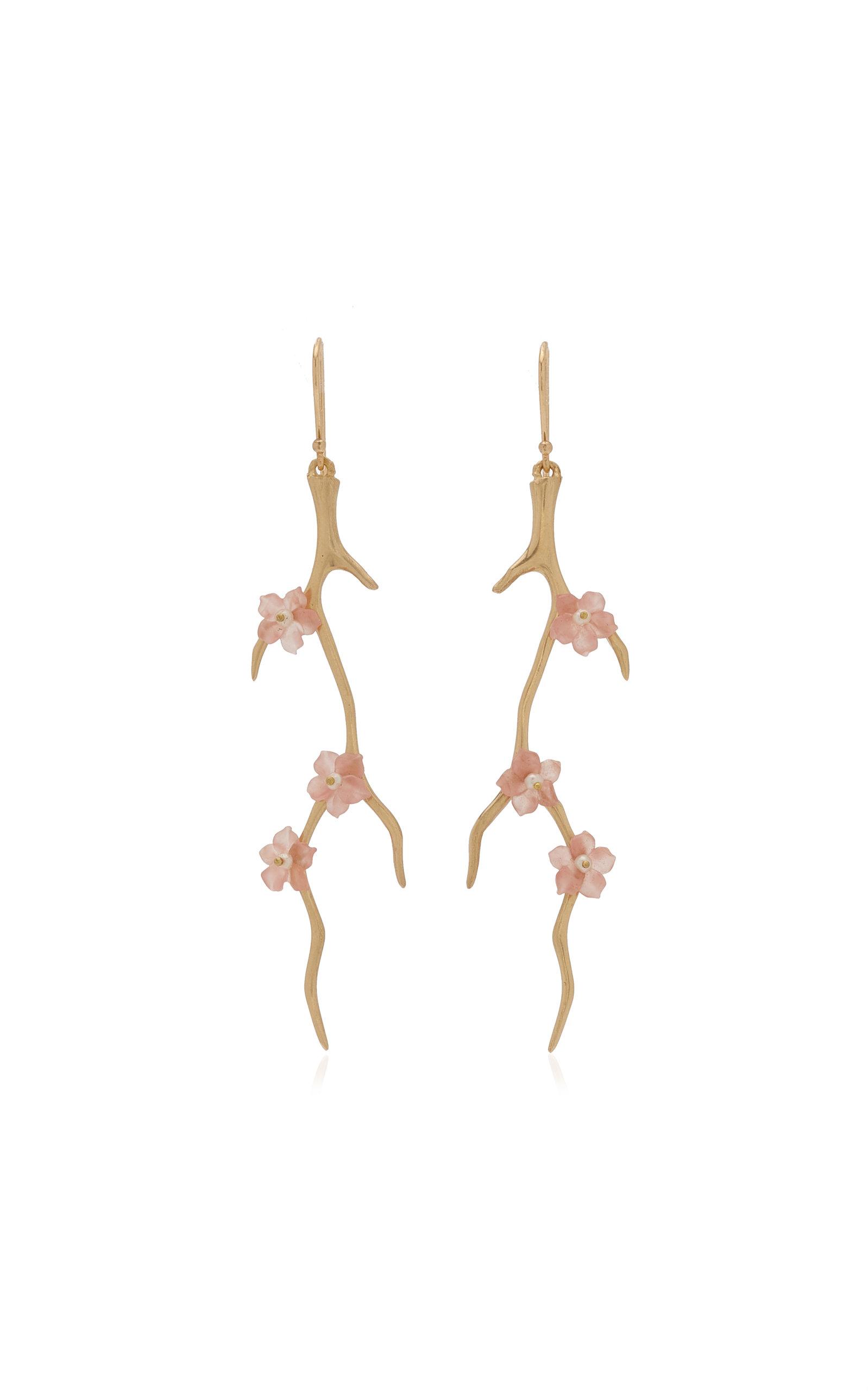 Women's Blossom Branch 14K Yellow Gold Rhodochrosite; Pearl Earrings