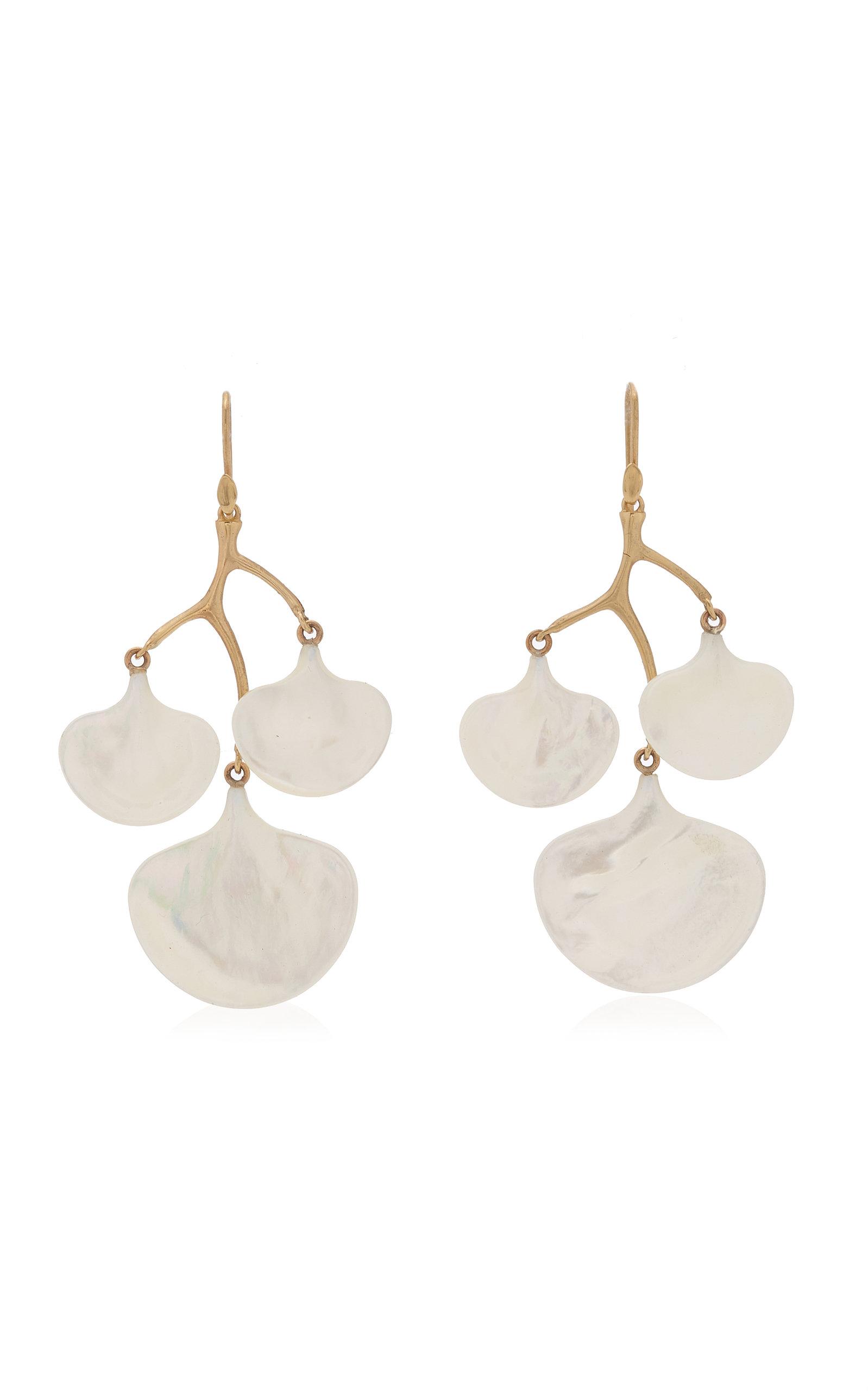 Women's Ginkgo Branch 14K Yellow Gold Mother-Of-Pearl Earrings