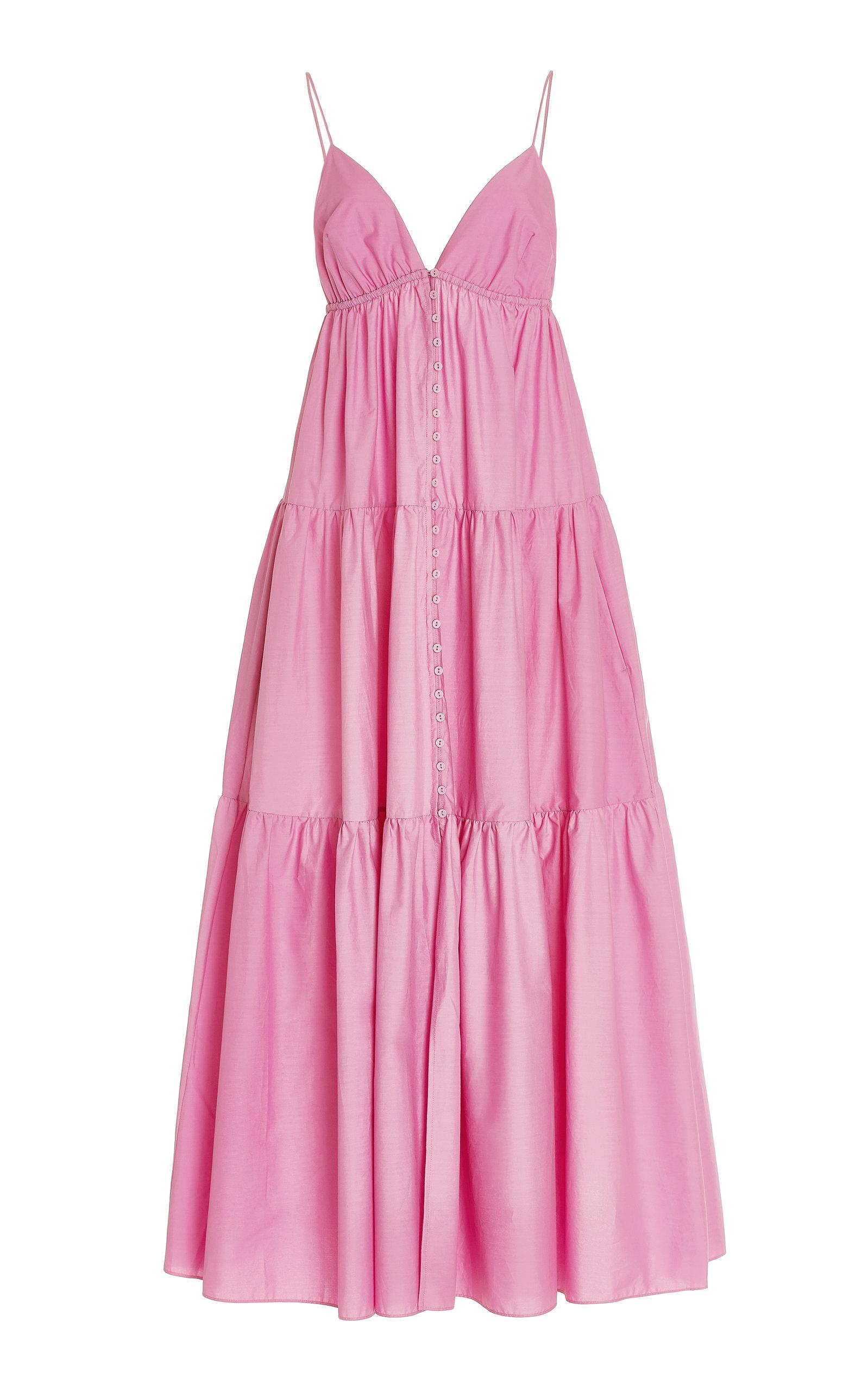Women's Tiered Organic Cotton Button-Front Maxi Dress