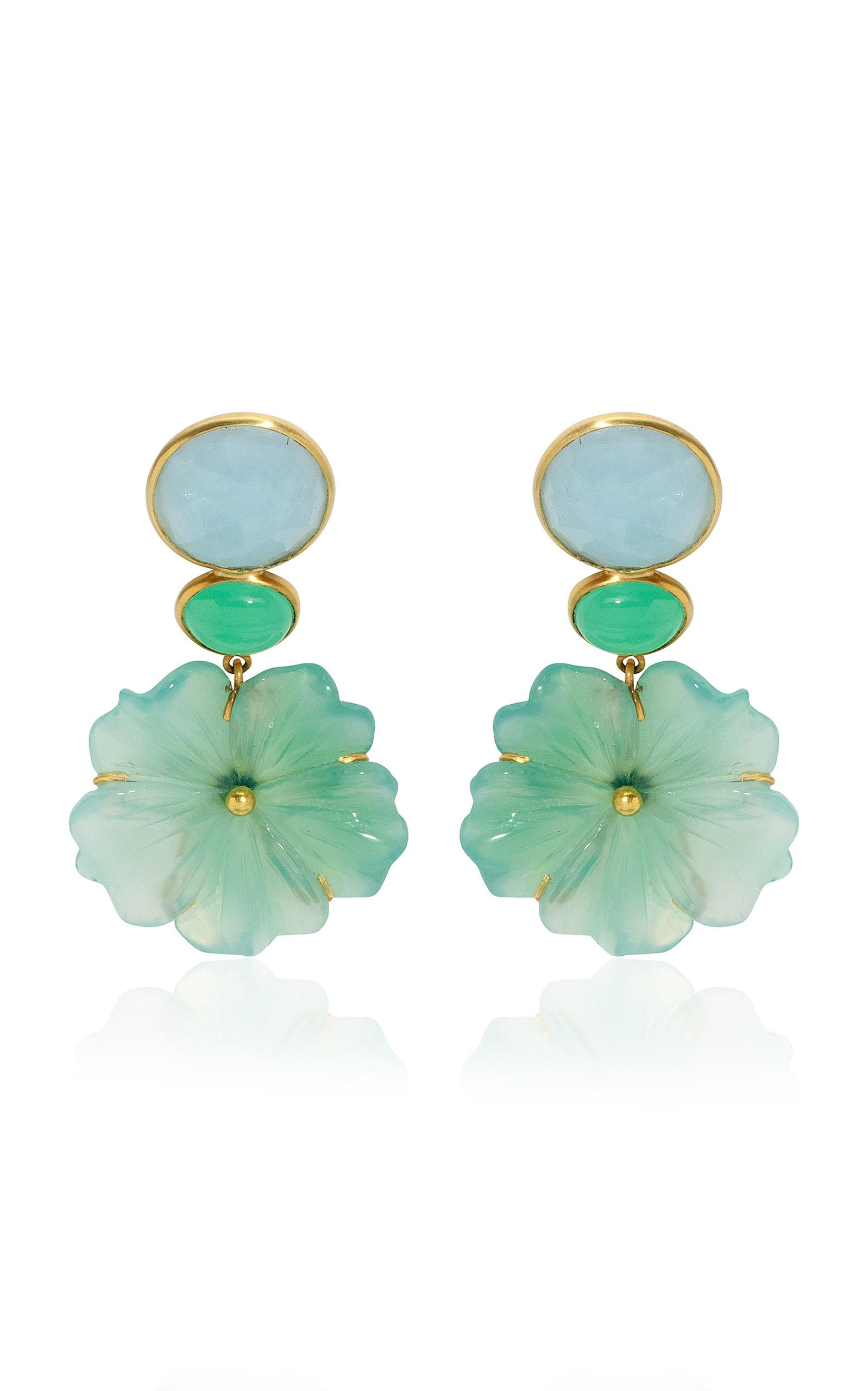 Women's 18K Yellow Gold Aquamarine; Chrysoprase; Onyx Earrings