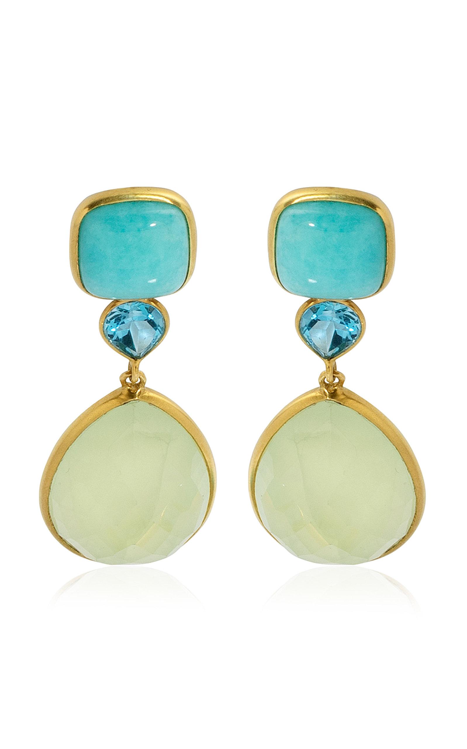 Women's 18K Yellow Gold Amazonite; Topaz; Praynite Earrings