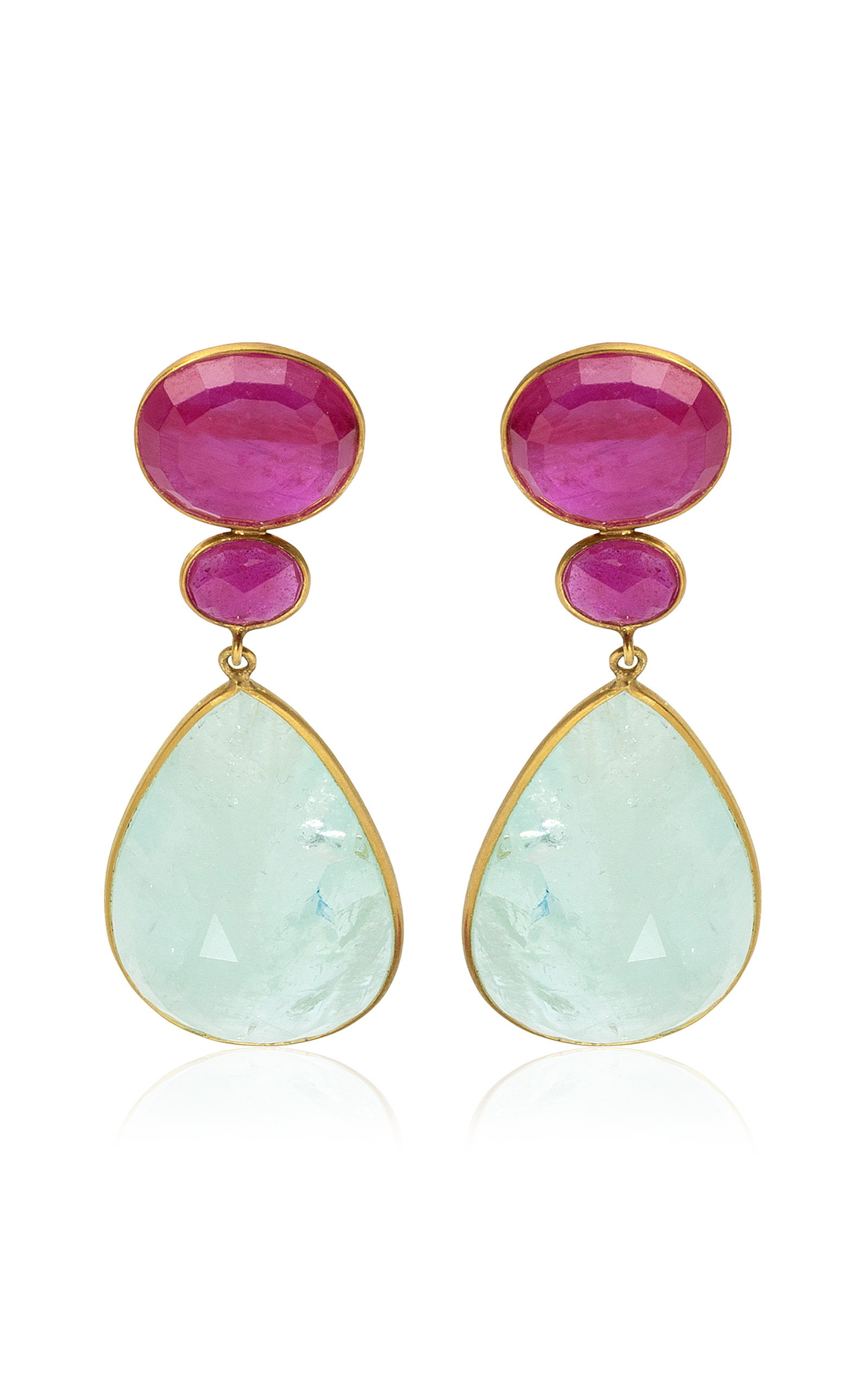 Women's 18K Yellow Gold Ruby; Aquamarine Earrings