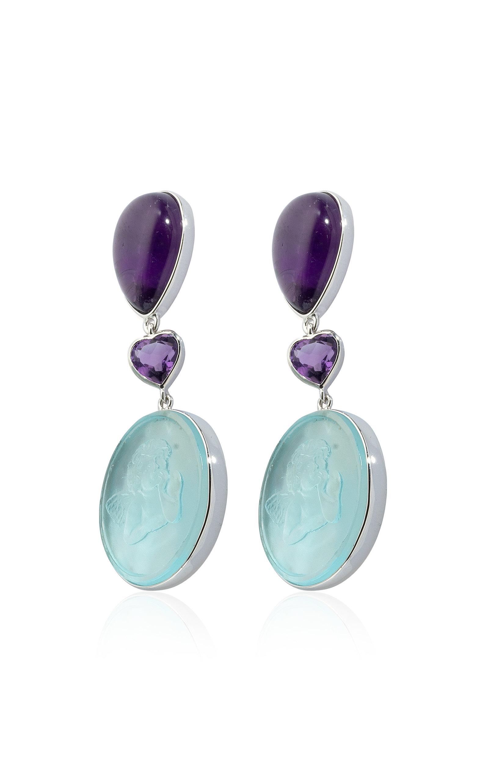 Women's 18K White Gold Amethyst; Mother-Of-Pearl Earrings