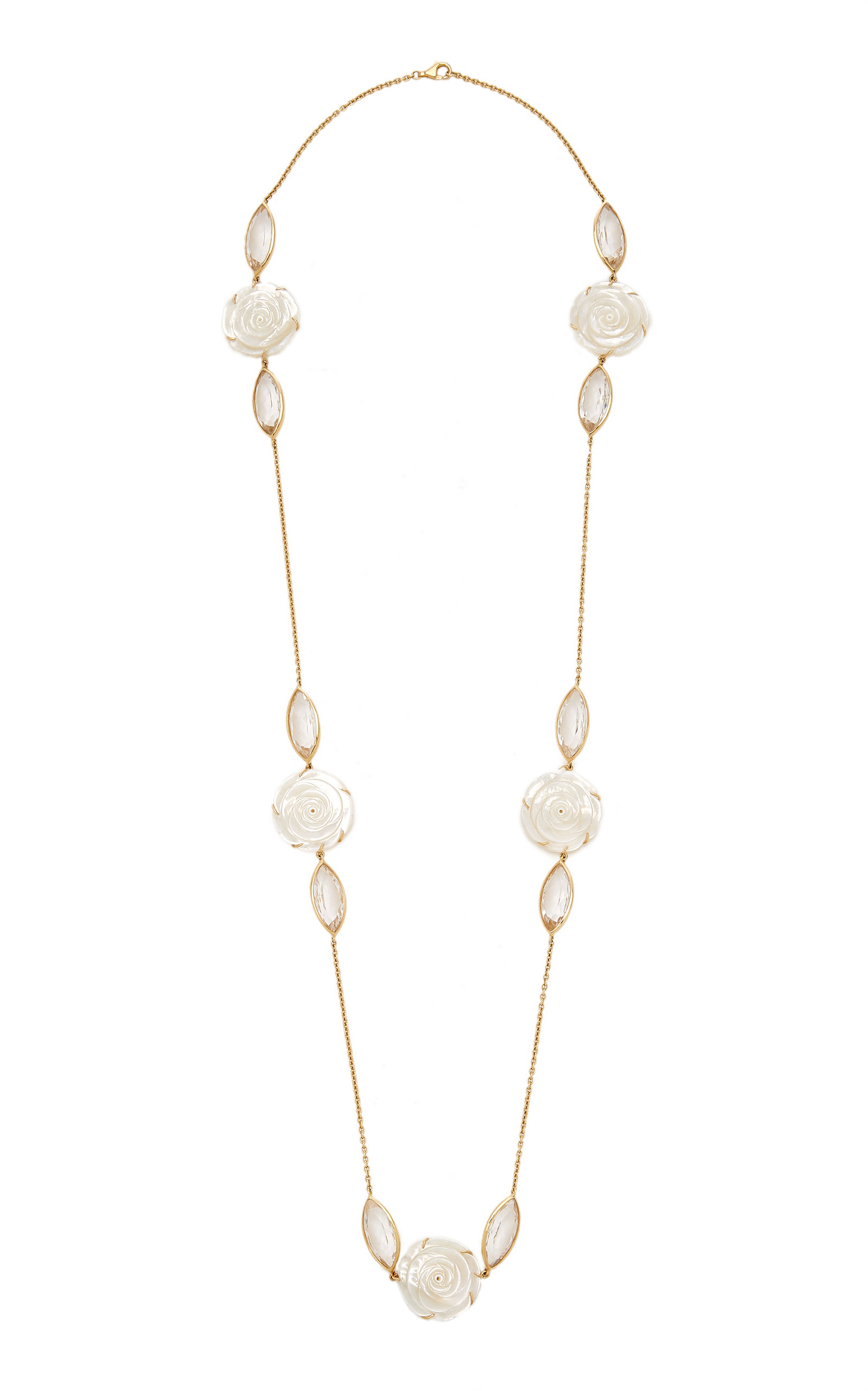 Women's 18K Yellow Gold Crystal; Mother-Of-Pearl Necklace