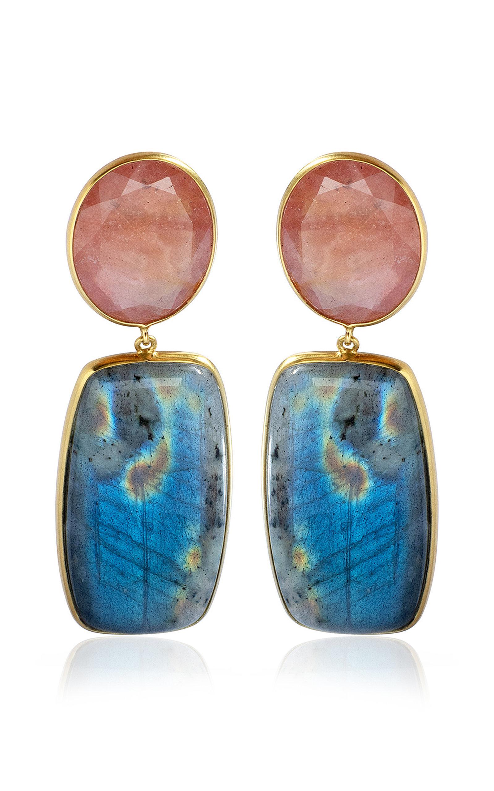 Women's 18K Yellow Gold Sapphire; Labradorite Earrings