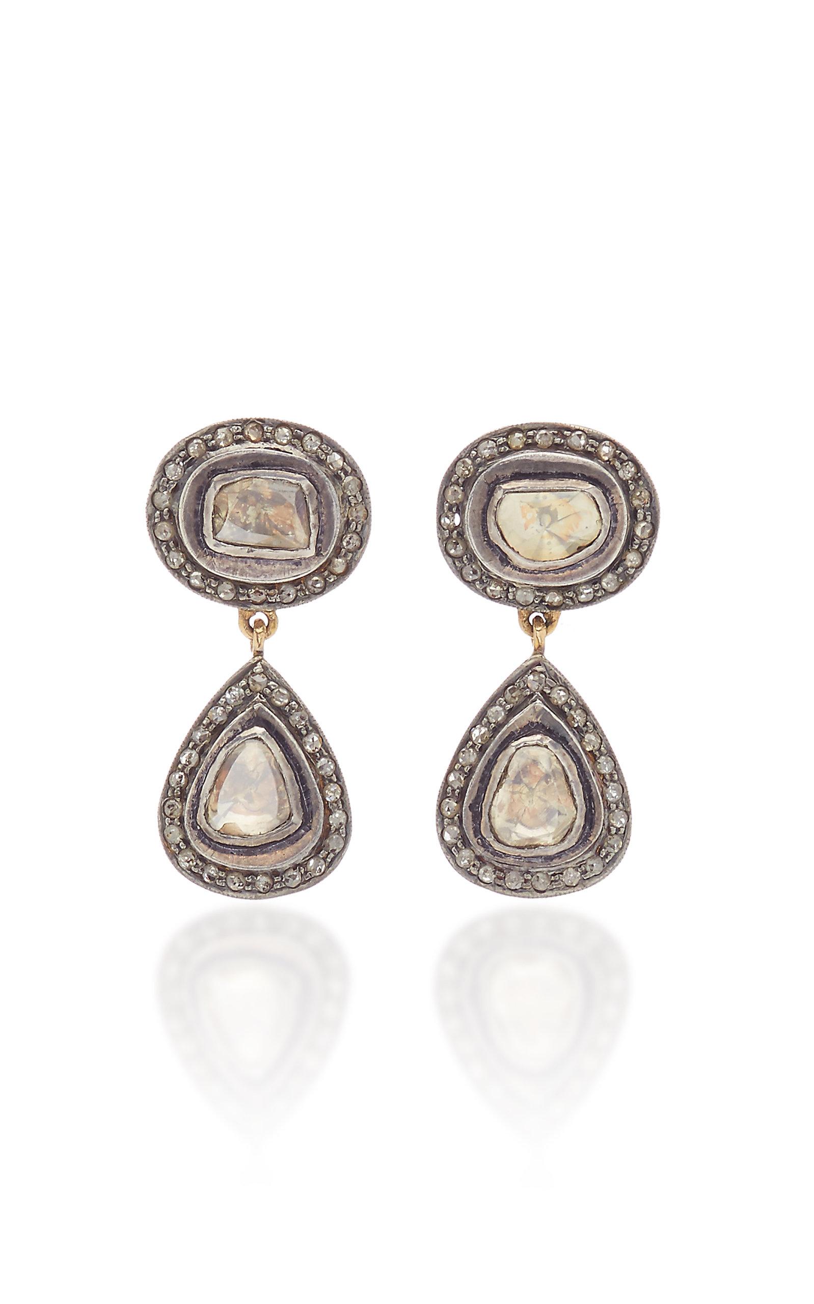 Women's Victorian 14K Yellow Gold Diamond Earrings