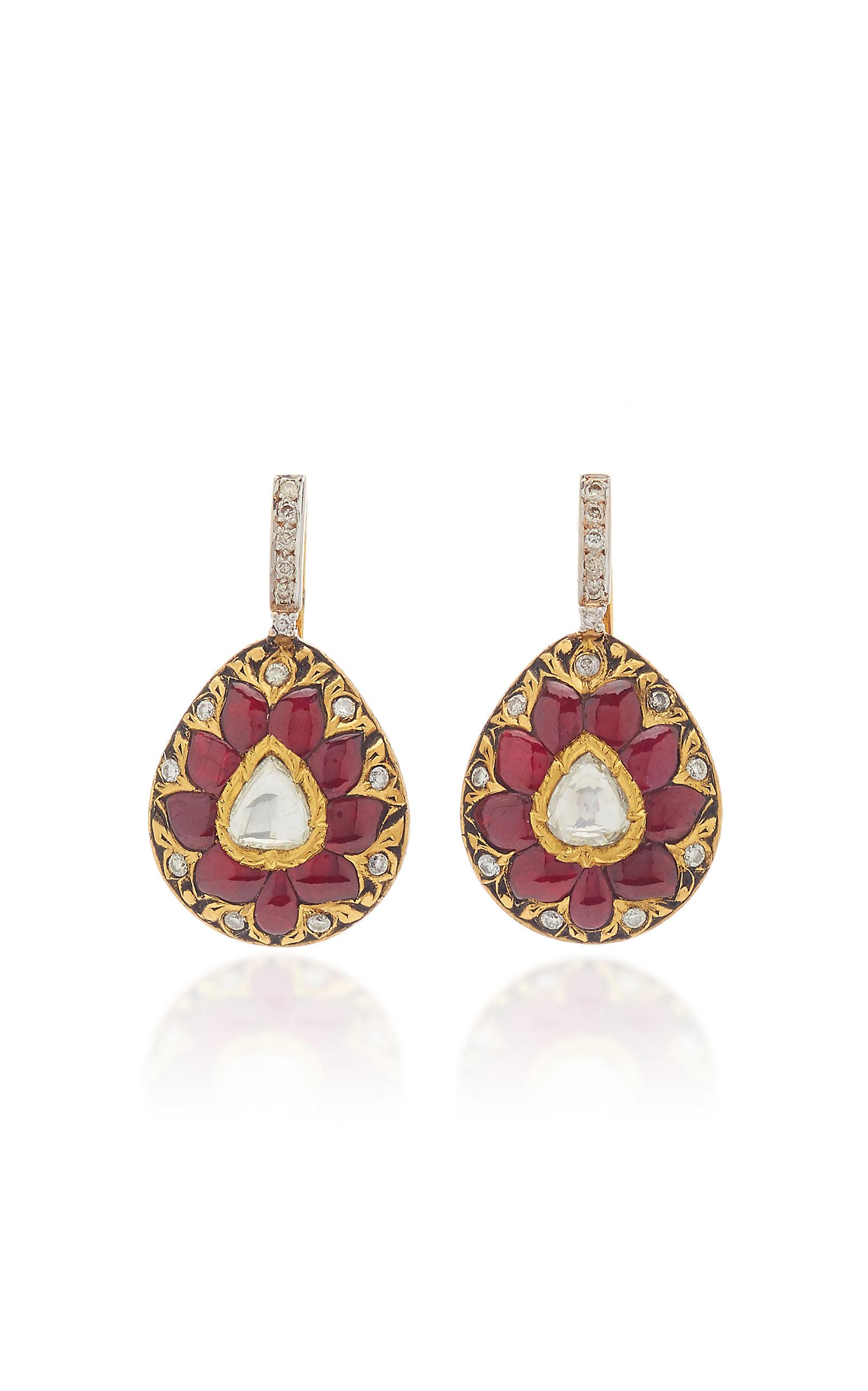 Women's Diwali 22K Yellow Gold Multi-Stone Earrings