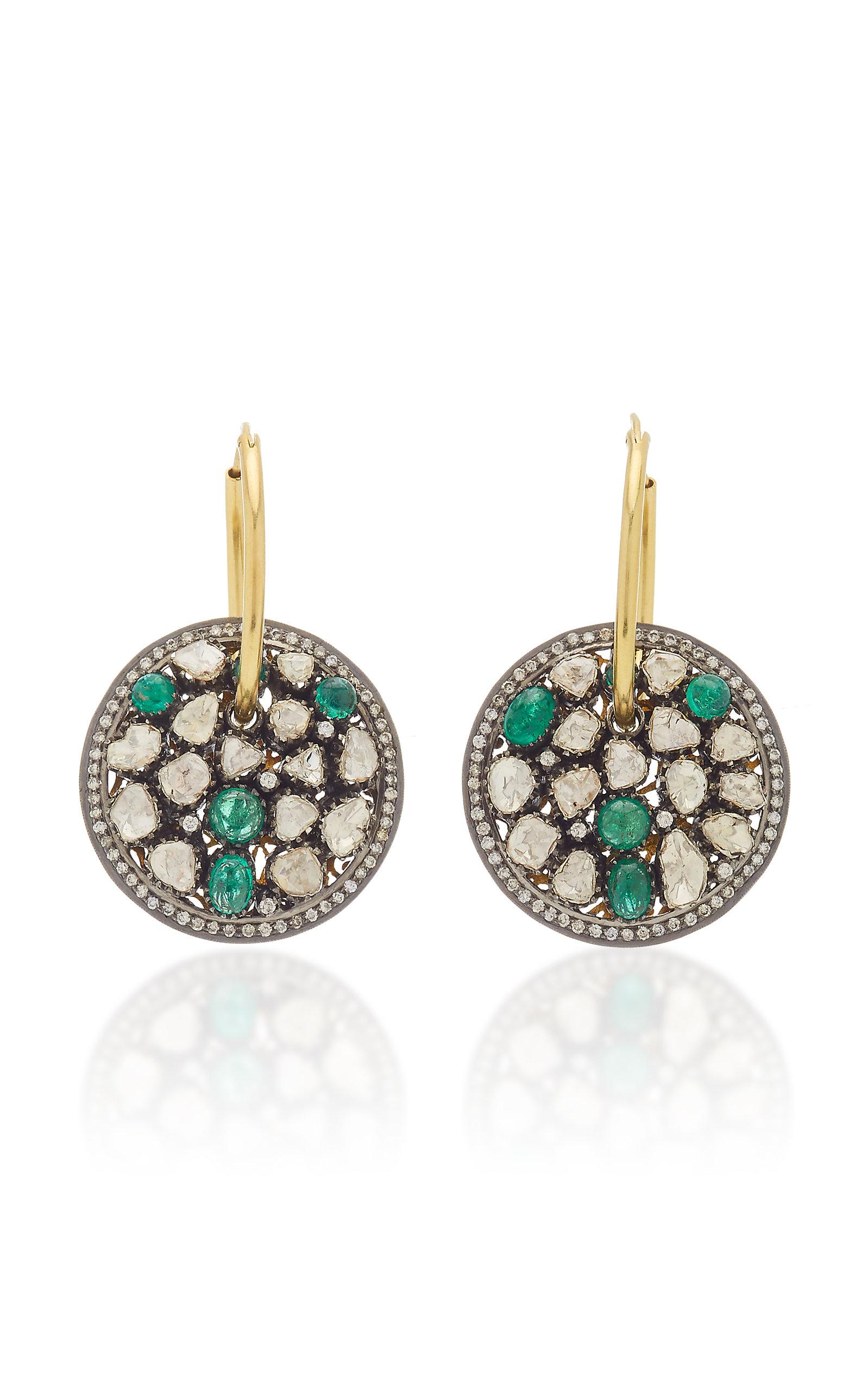 Women's 14K Yellow Gold Emerald; Diamond Earrings
