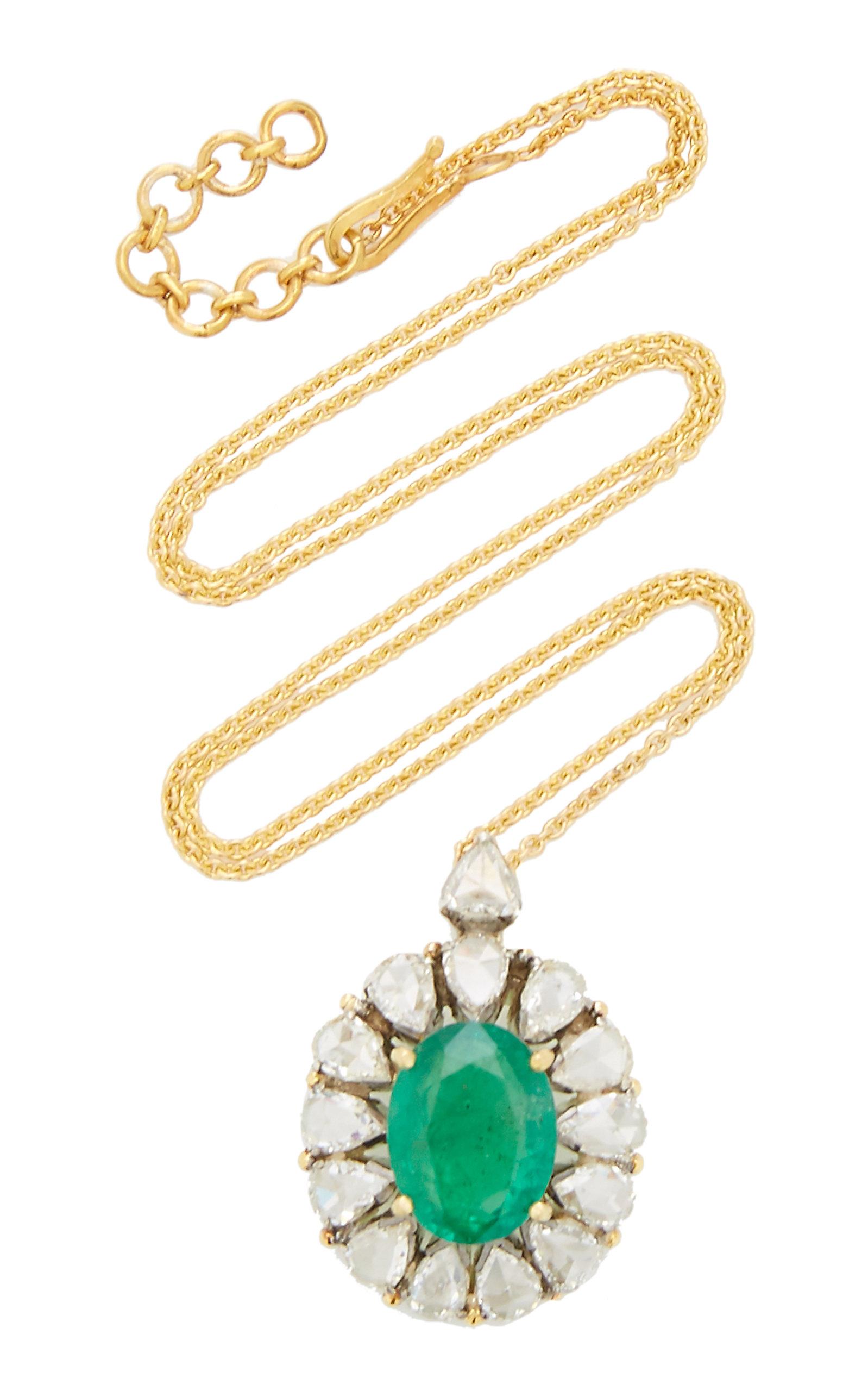Women's Heirloom 18K Yellow Gold Emerald; Diamond Necklace