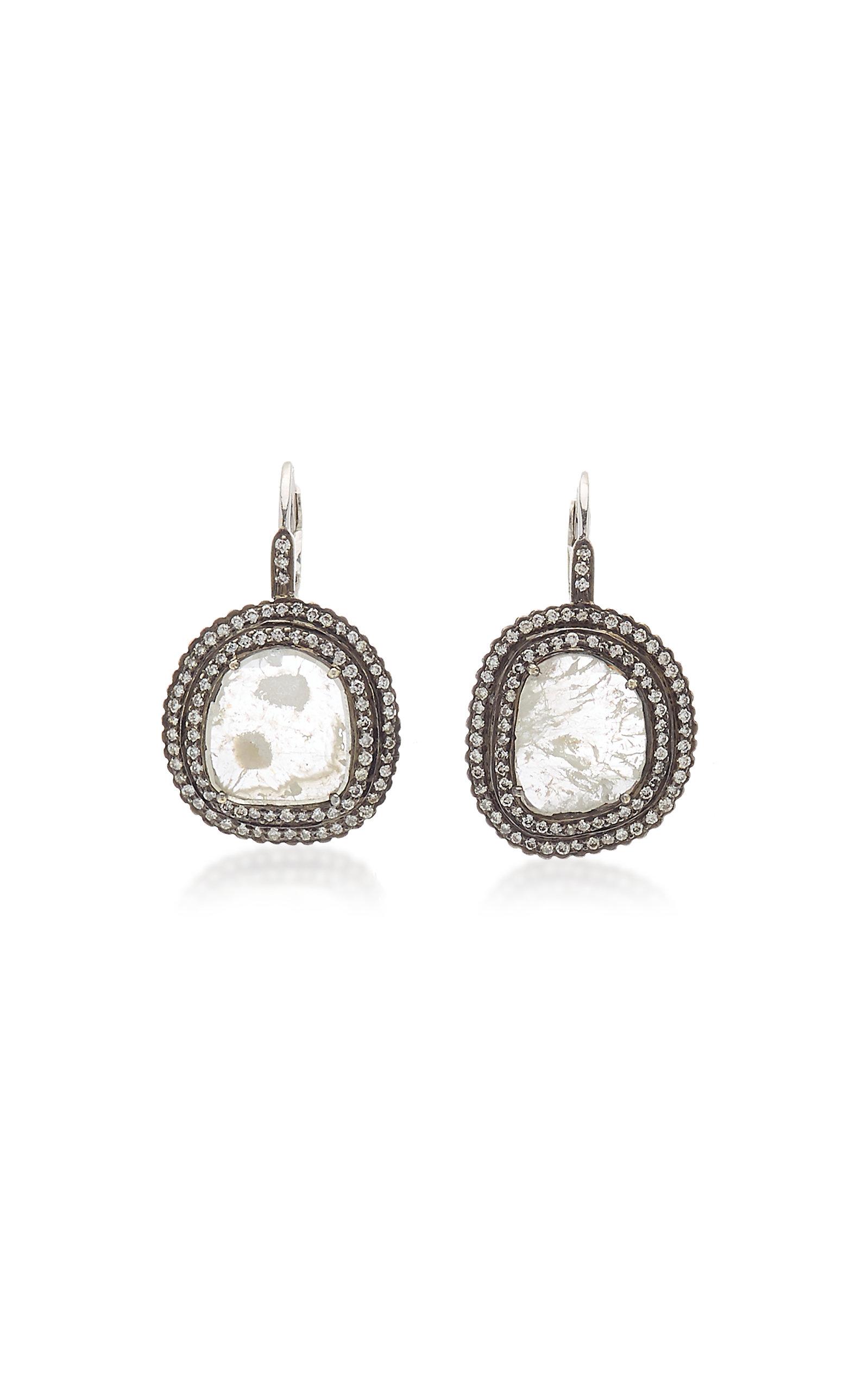 Women's Victorian 18K White Gold Diamond Earrings