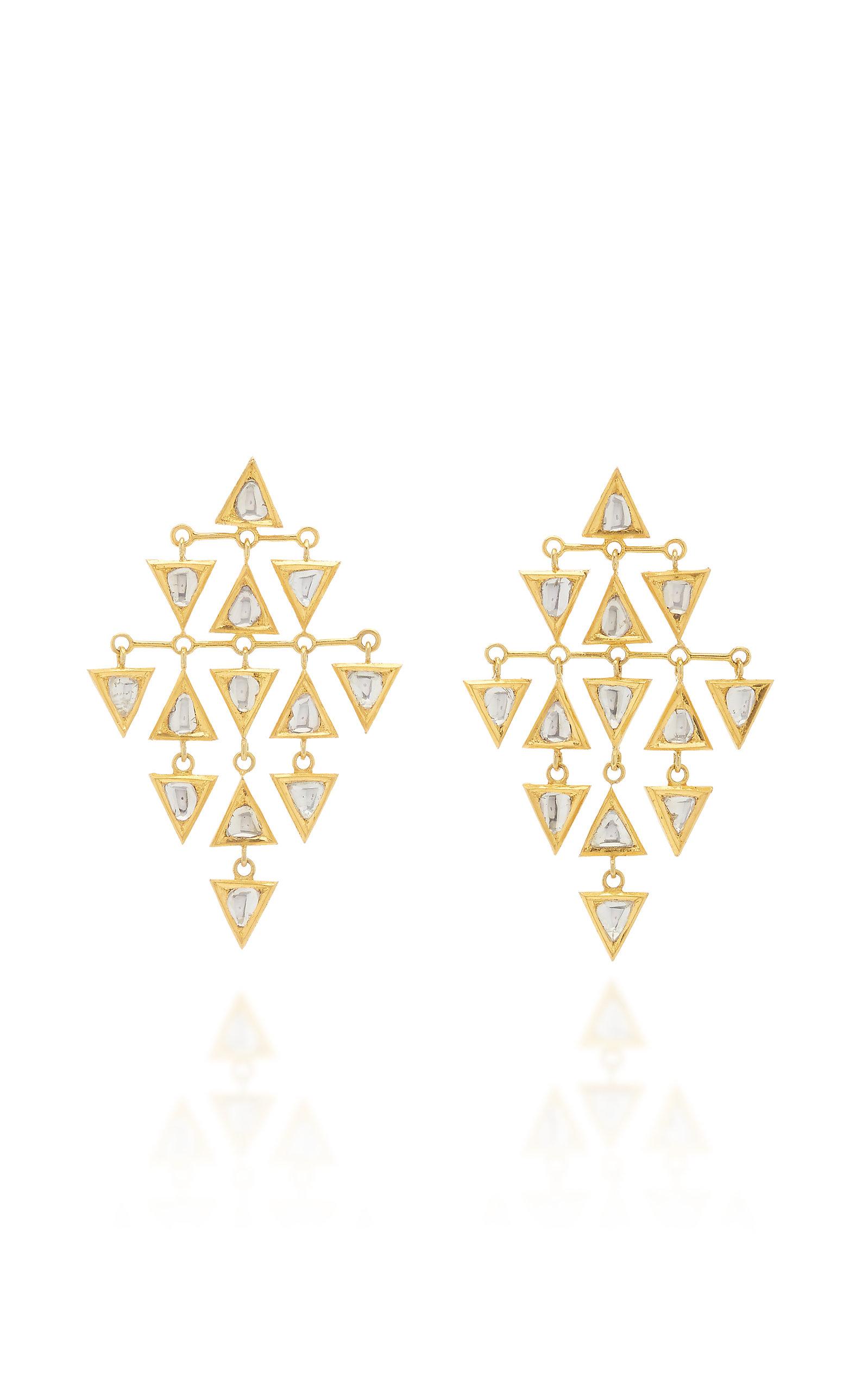 Women's Kundan Vintage 18K Yellow Gold Diamond Earrings