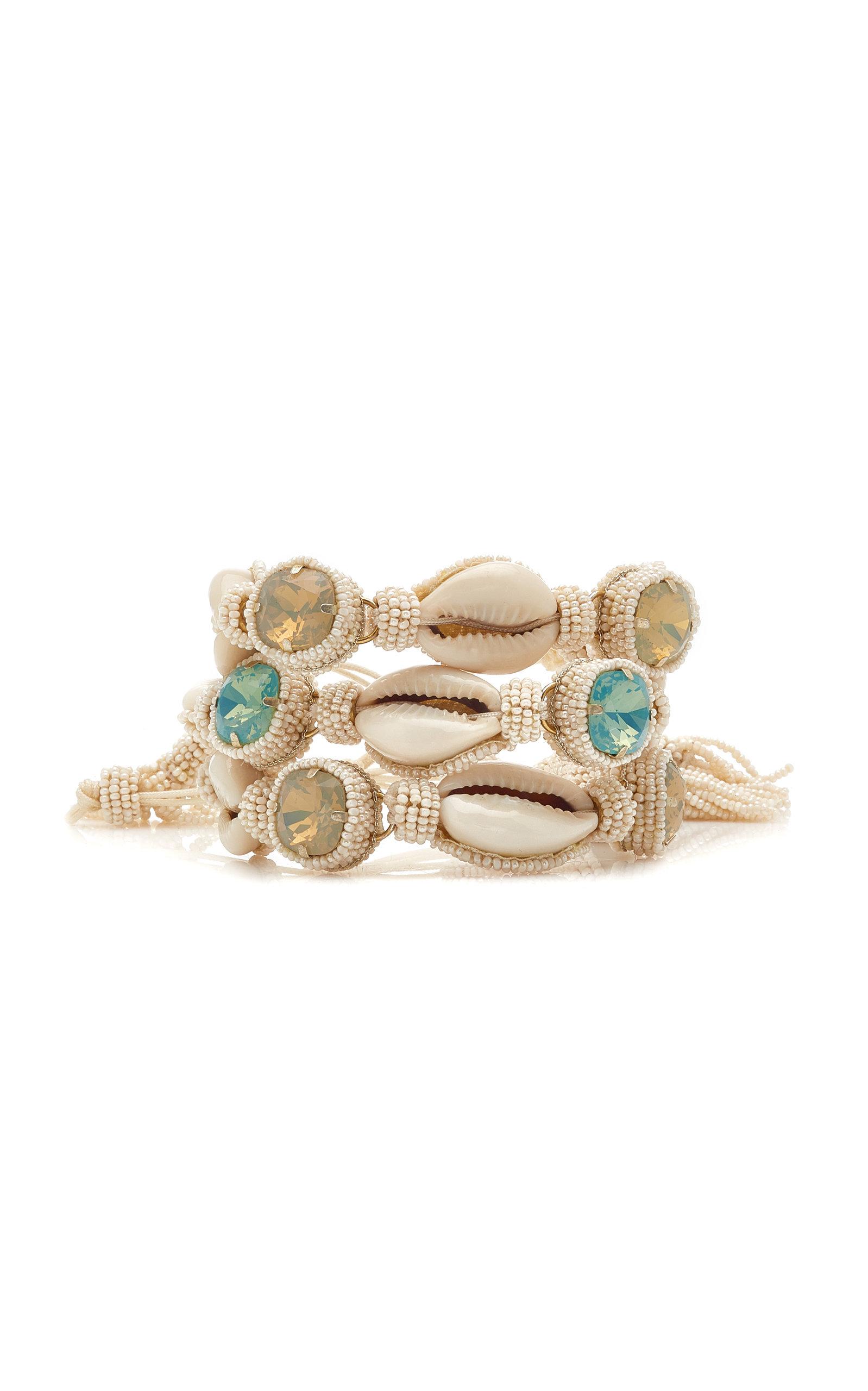 Women's Set of 3 Shell and Macrame Bracelets