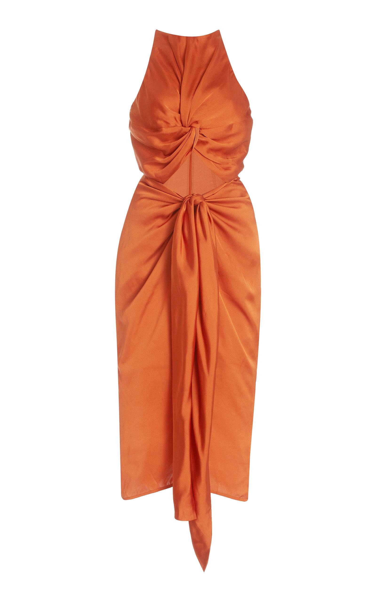 Women's Reni Cutout Twisted Satin Midi Dress