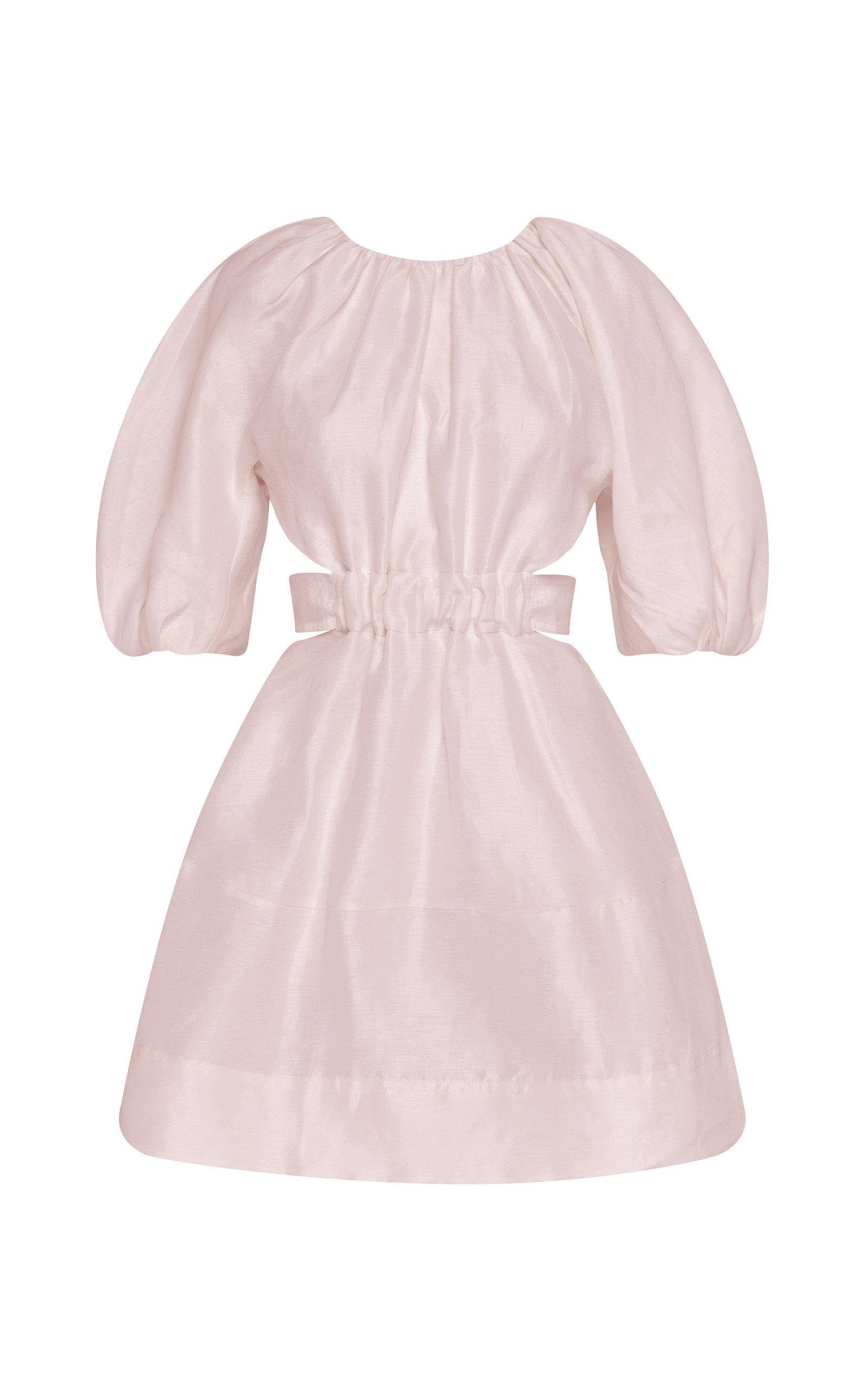 - Women's Psychedelia Cutout Linen-Blend Mini Dress