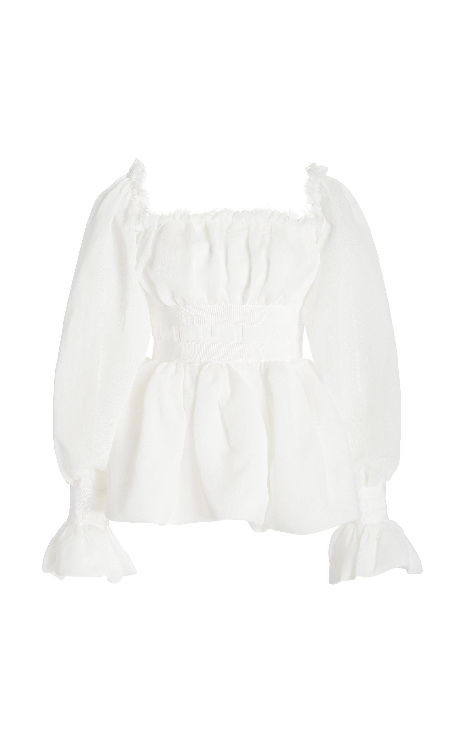- Women's Divine Poet-Sleeve Shirred Crepe Top