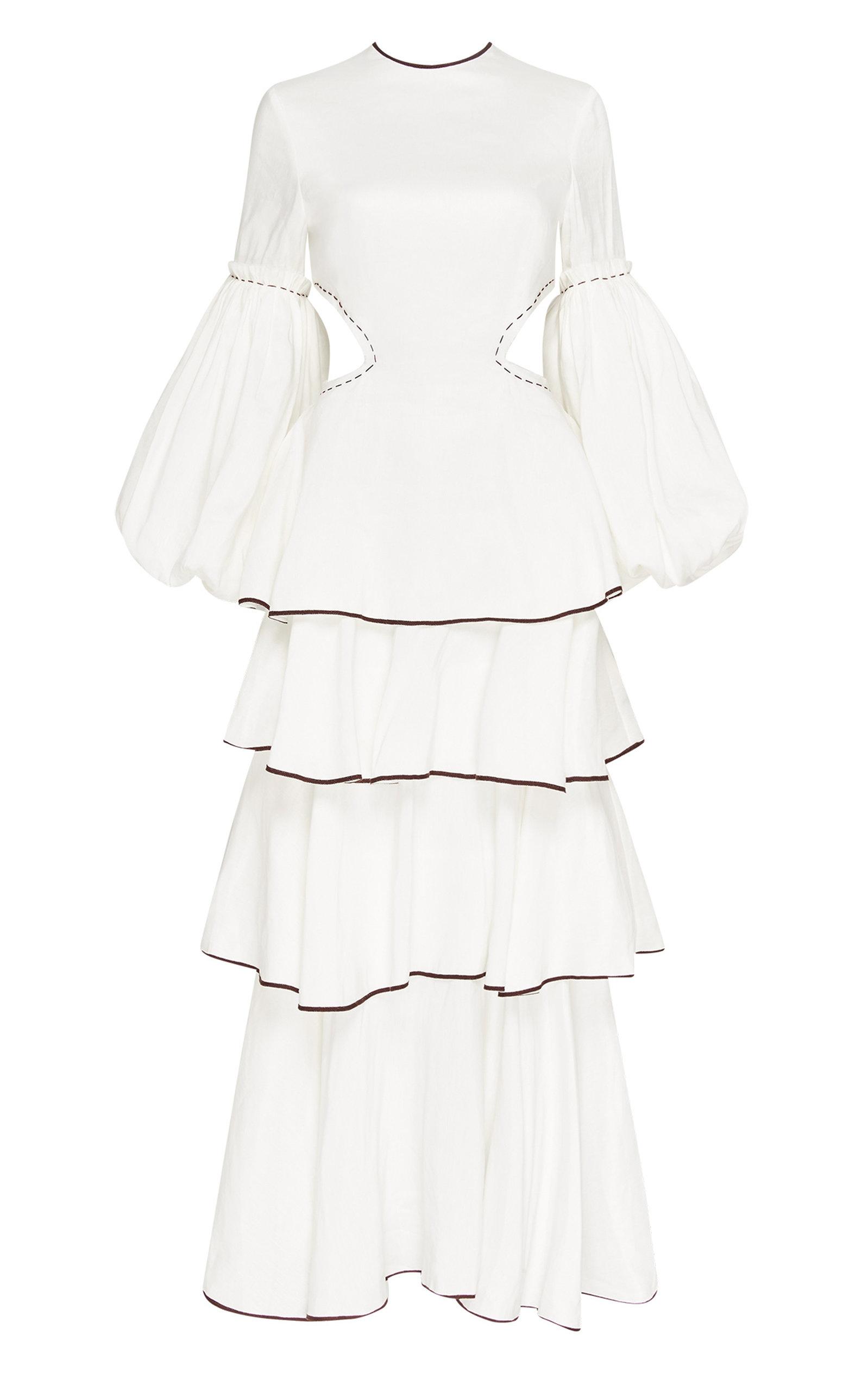 - Women's Gracious Cutout Linen-Blend Maxi Dress