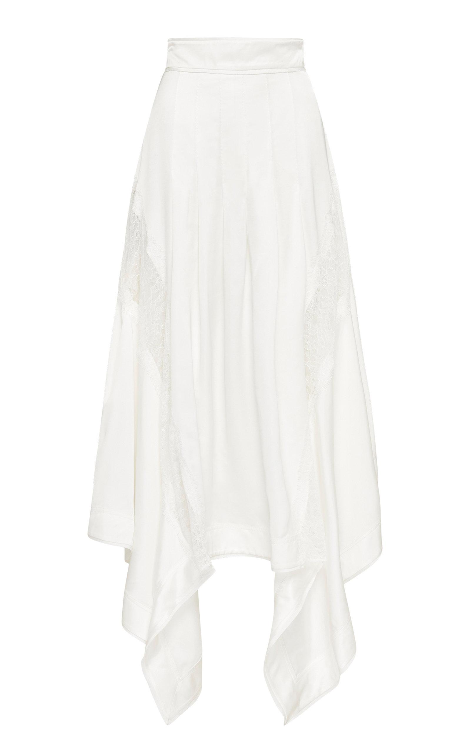 - Women's Veil Lace-Trimmed Crepe Handkerchief Skirt