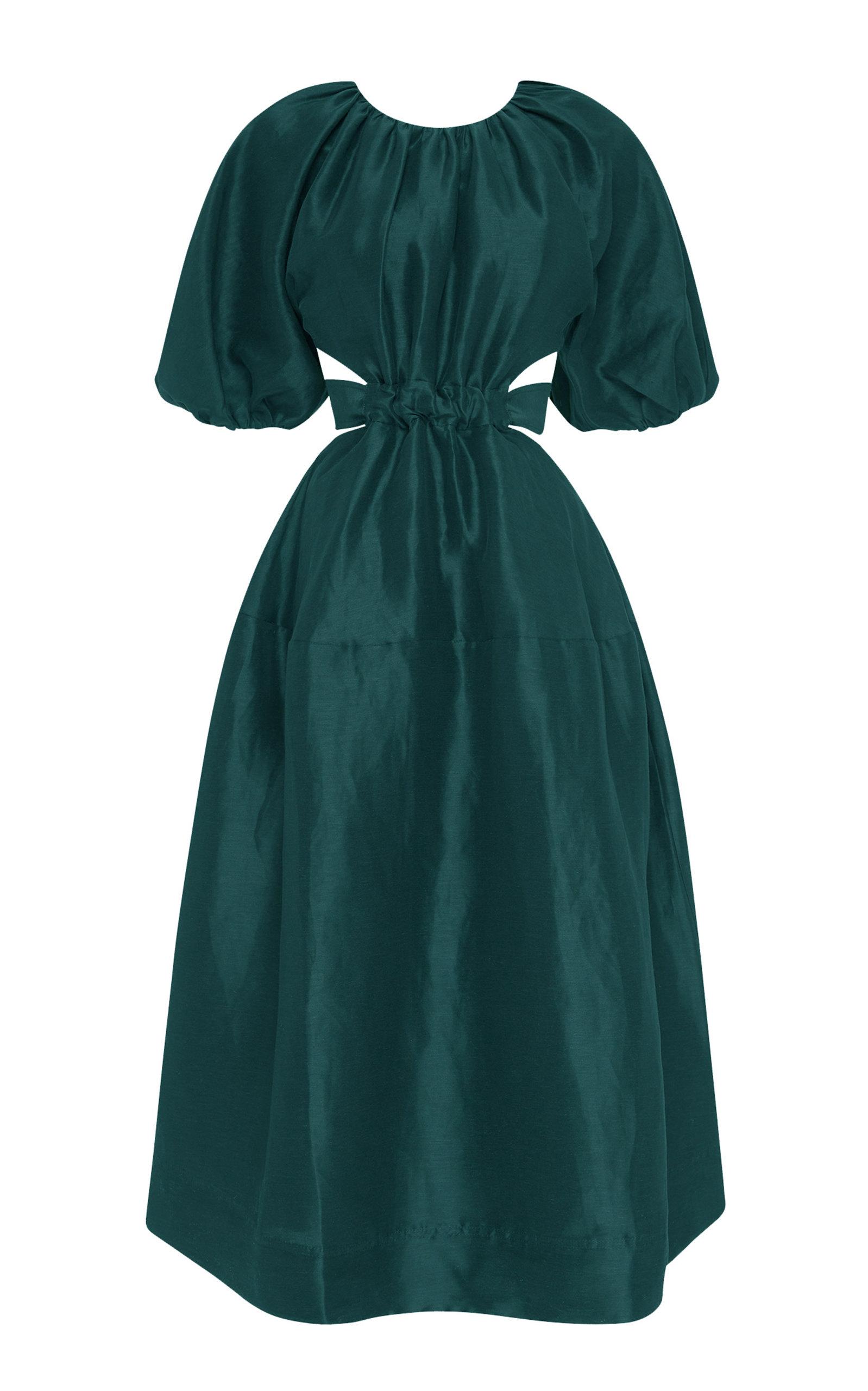 - Women's Mimosa Cutout Linen-Blend Midi Dress