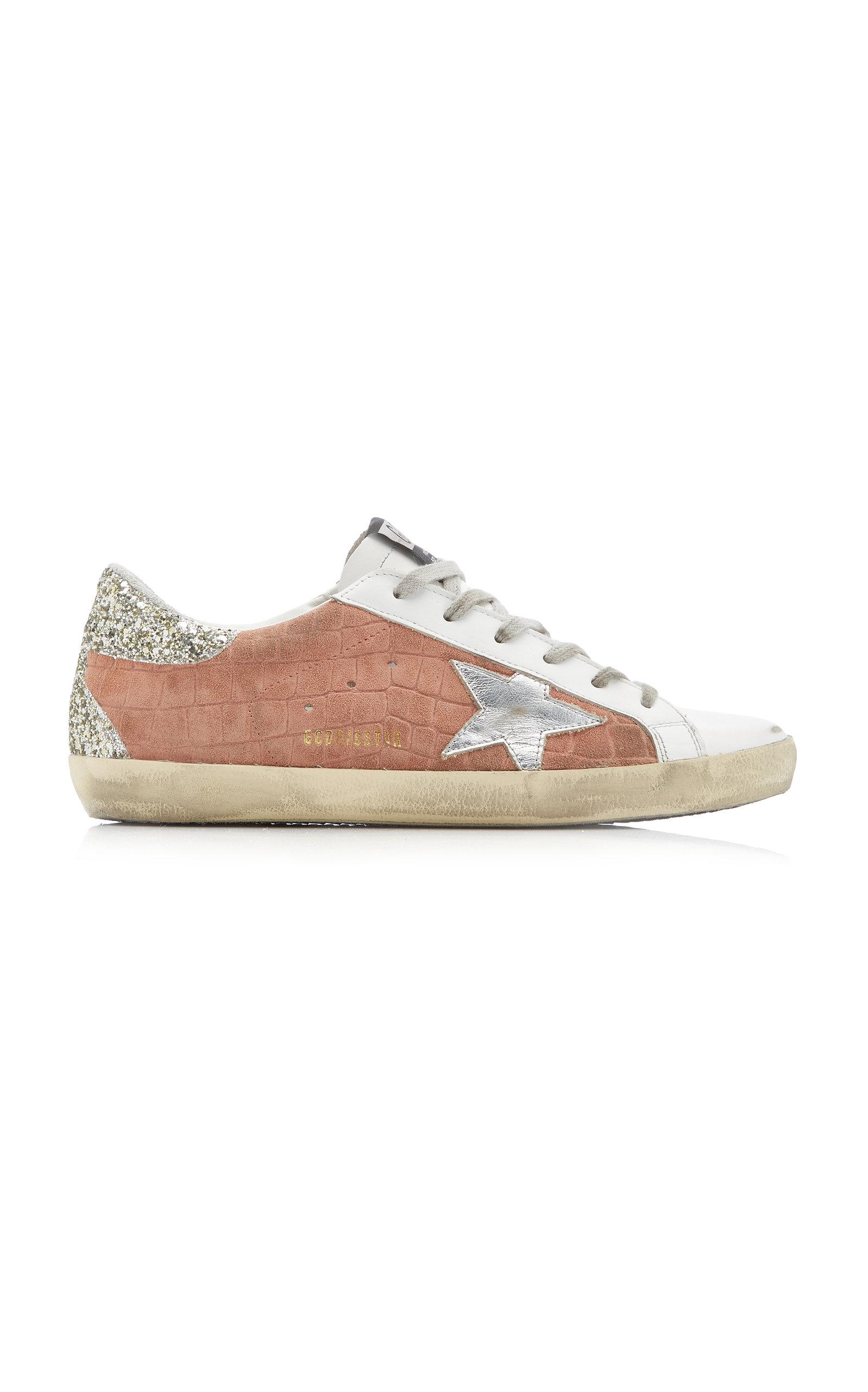Golden Goose - Women's Superstar Cocco Glittered Leather Sneakers - Pink - Moda Operandi