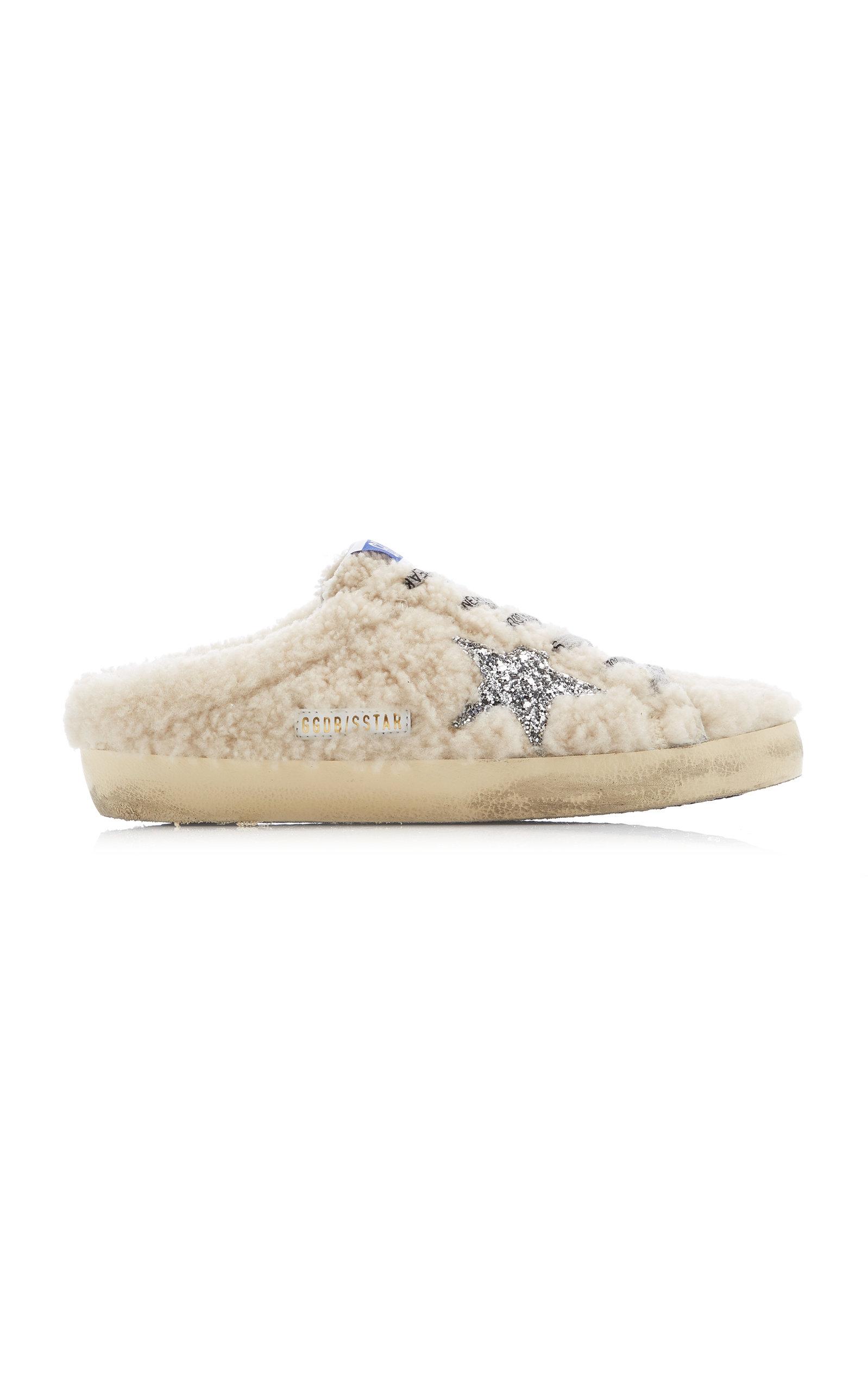 Golden Goose - Women's Superstar Sabot Shearling Slip-On Sneakers - White - Moda Operandi