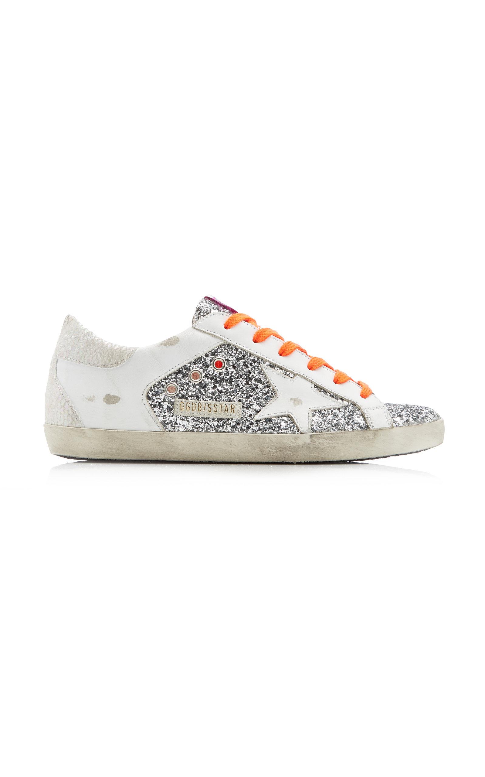 Golden Goose - Women's Super-Star Glittered Leather Sneakers - Silver - Moda Operandi