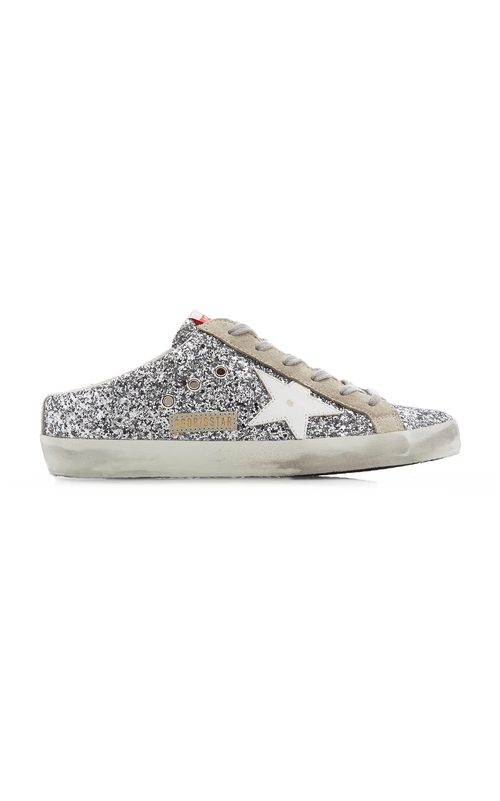 Golden Goose - Women's Superstar Sabot Glittered Leather Slip-On Sneakers - Silver - Moda Operandi