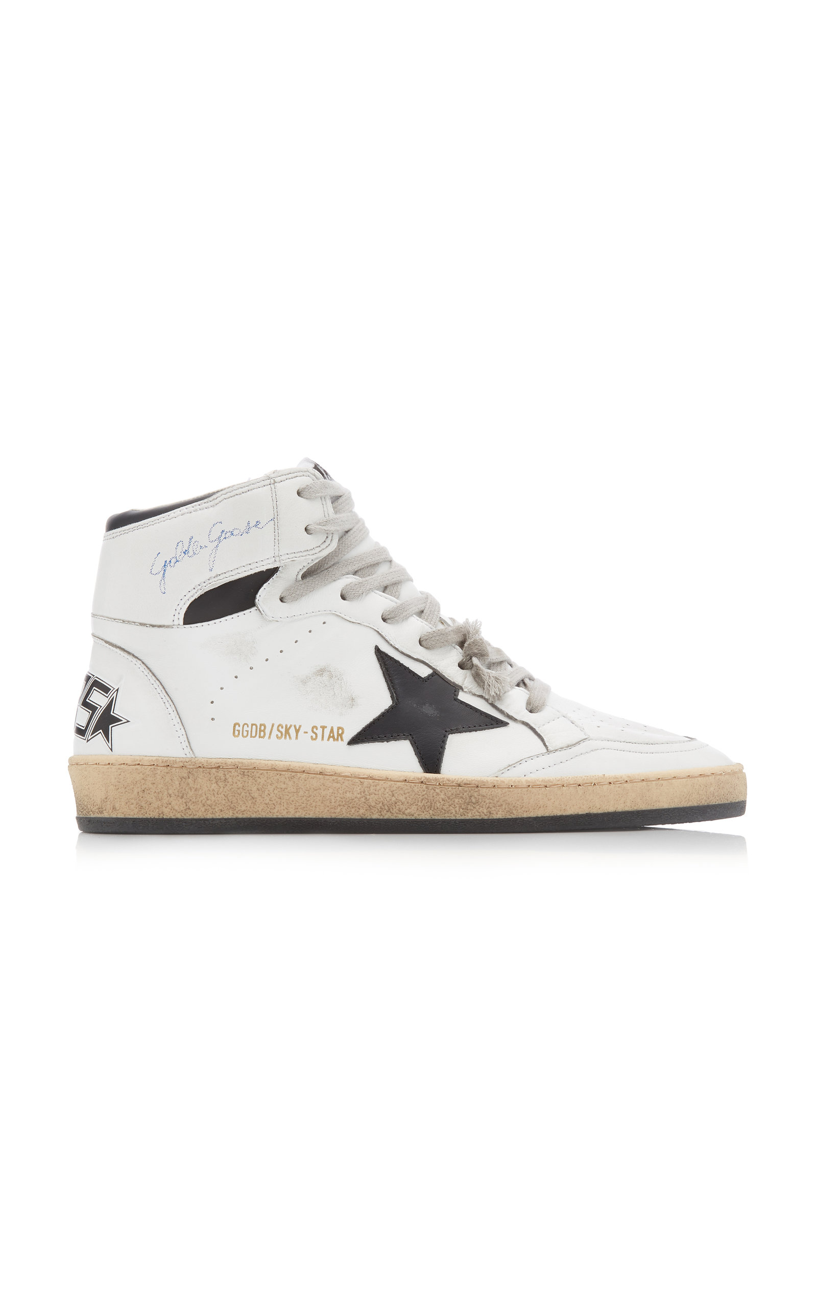 Golden Goose - Women's Sky Star Leather Sneakers - Black/white - Moda Operandi