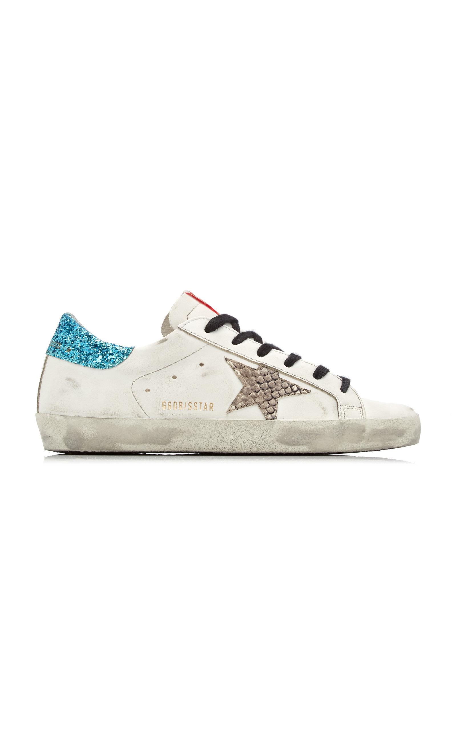 Golden Goose - Women's Super-Star Glitter-Trimmed Leather Sneakers - White - Moda Operandi