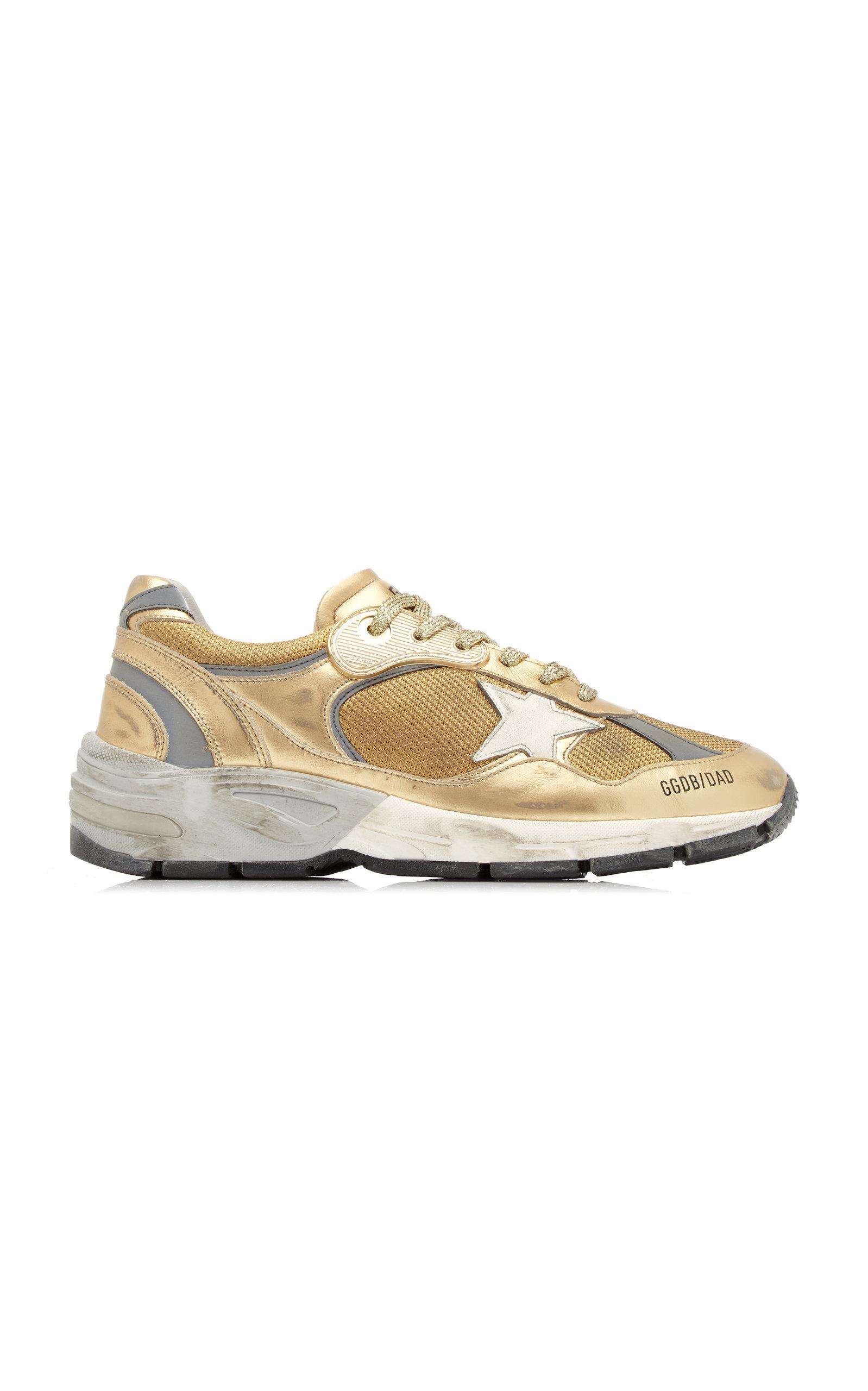 Golden Goose - Women's Running Dad Laminated Leather Sneakers - Gold - Moda Operandi