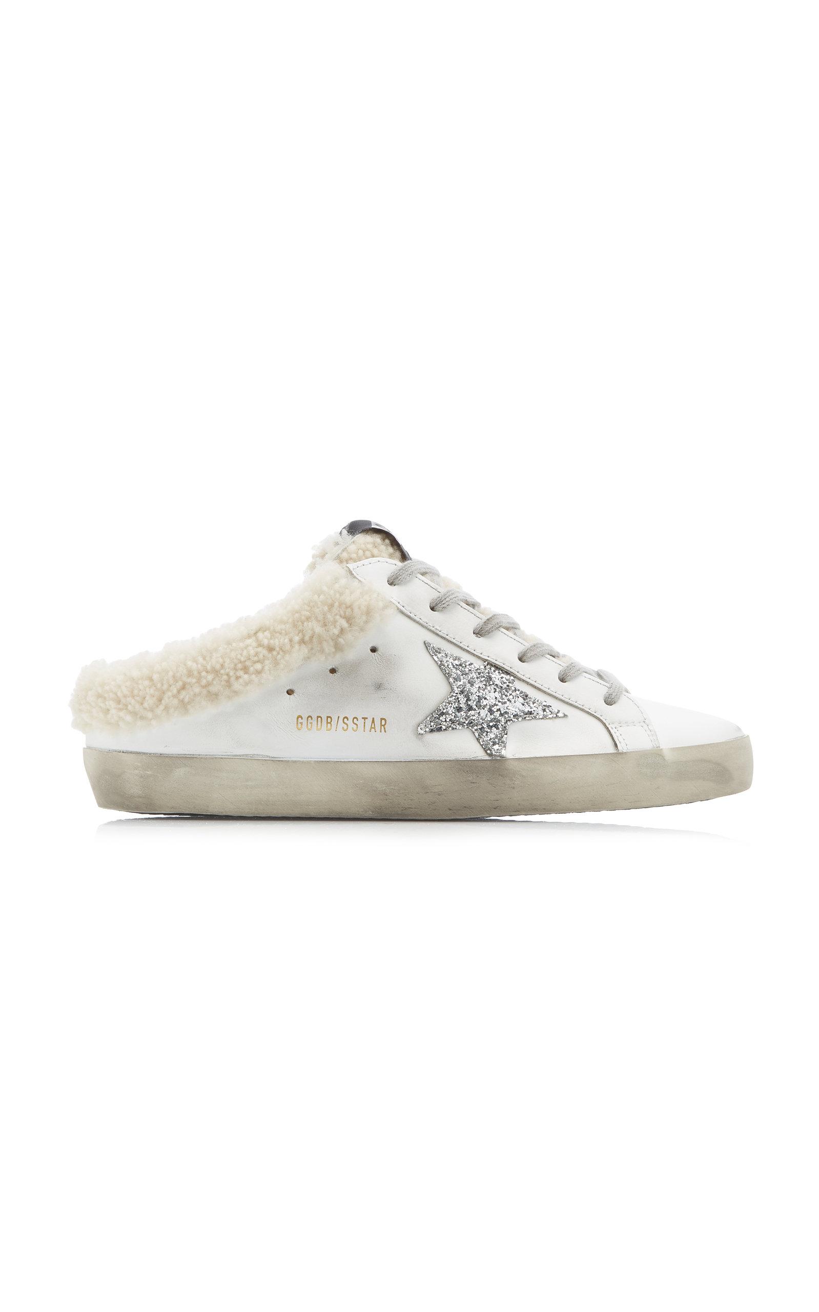 Golden Goose - Women's Superstar Sabot Shearling-Lined Leather Slip-On Sneakers - White - Moda Operandi