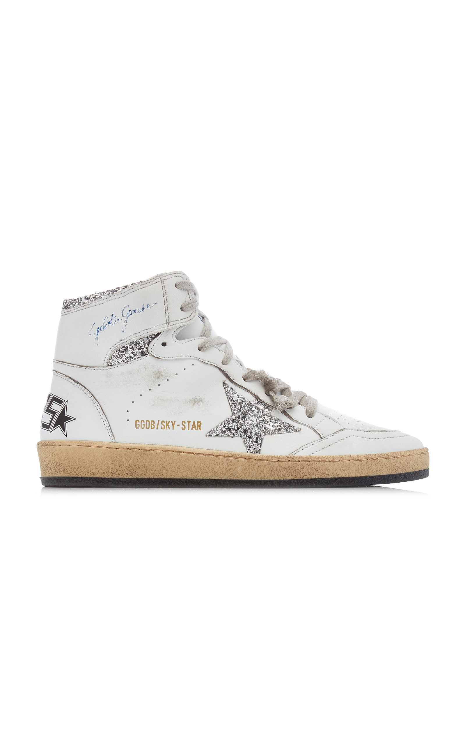 Golden Goose - Women's Sky Star Glitter-Embellished Leather Sneakers - White - Moda Operandi