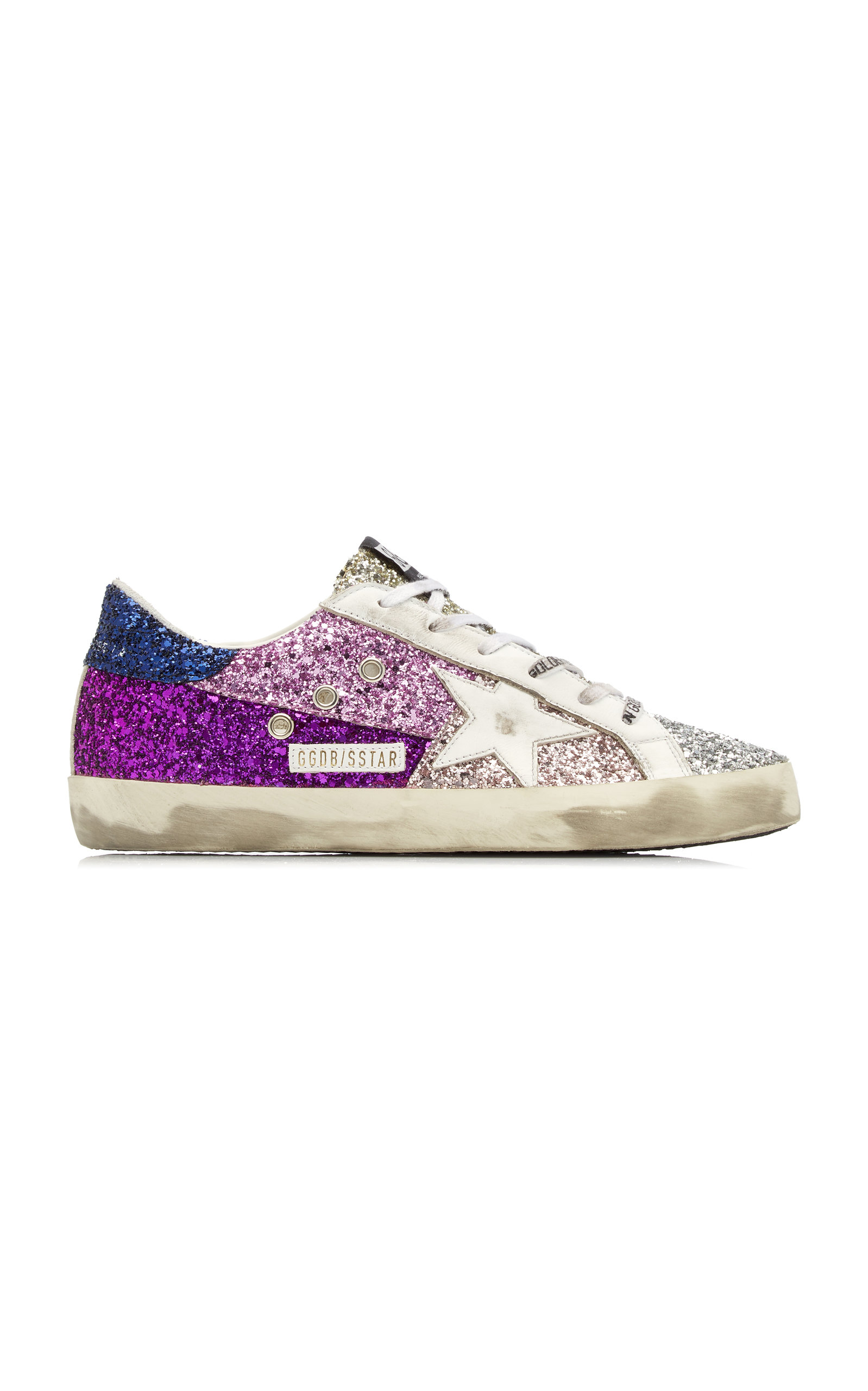 Golden Goose - Women's Super-Star Glittered Leather Sneakers - Purple - Moda Operandi