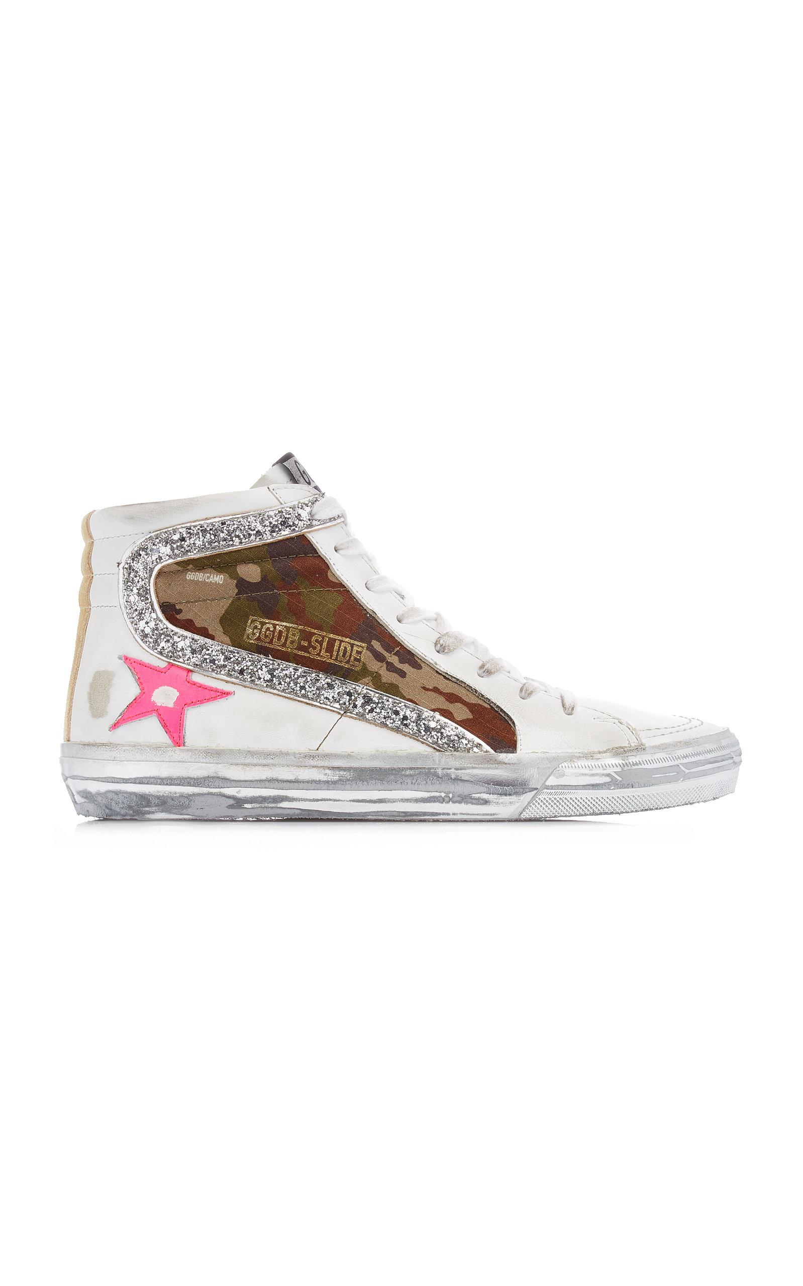 Golden Goose - Women's Slide Camo Suede and Leather Sneakers - White - Moda Operandi