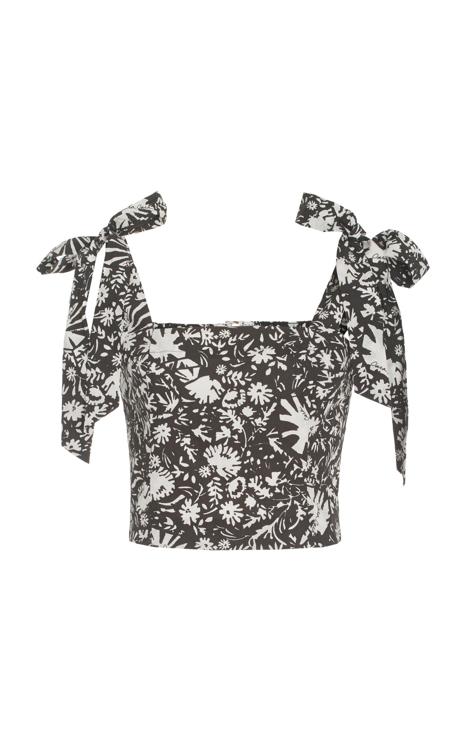Women's Helena Printed Cotton Poplin Cropped Top