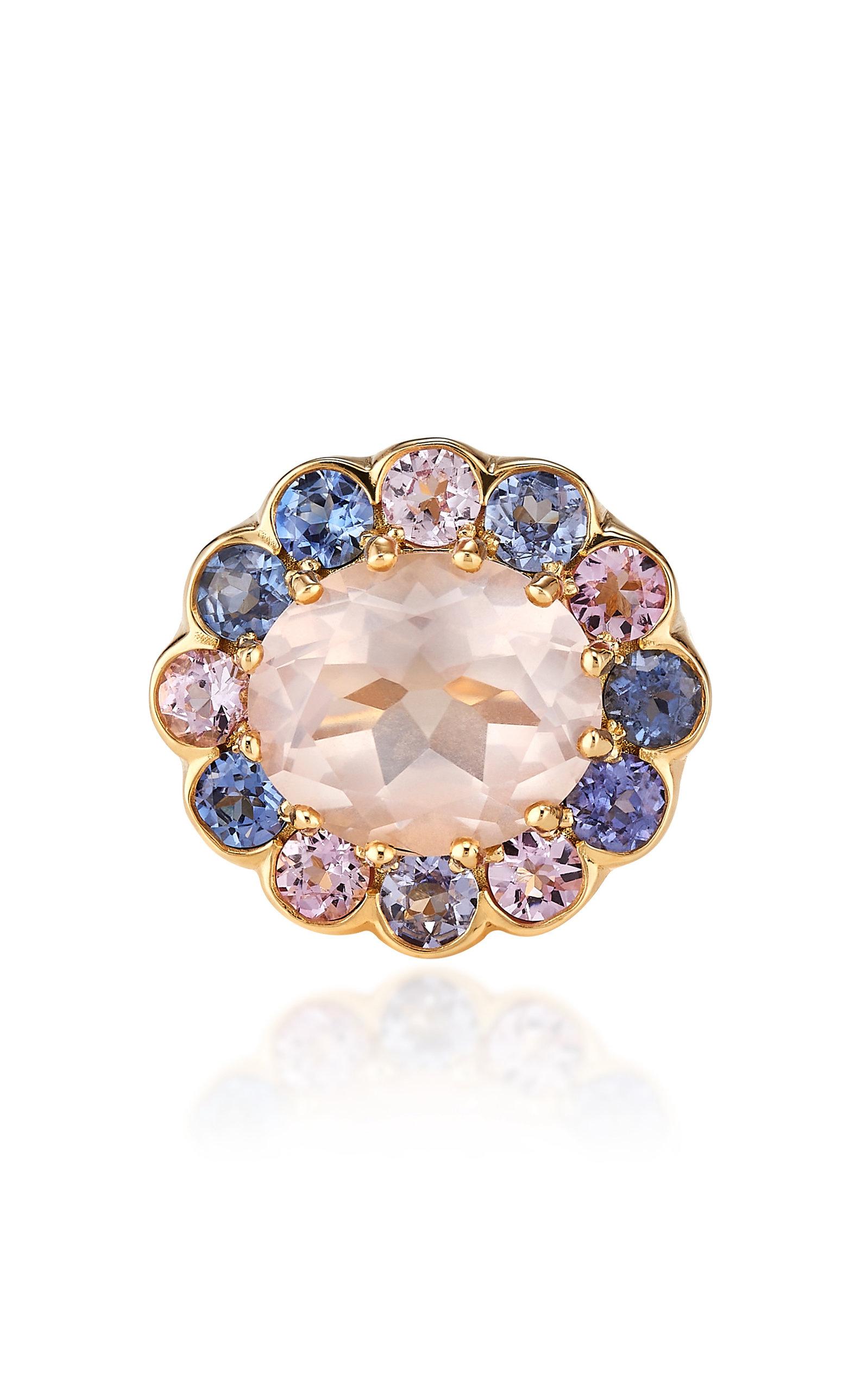 Women's Candy 18K Yellow Gold Quartz; Sapphire Ring