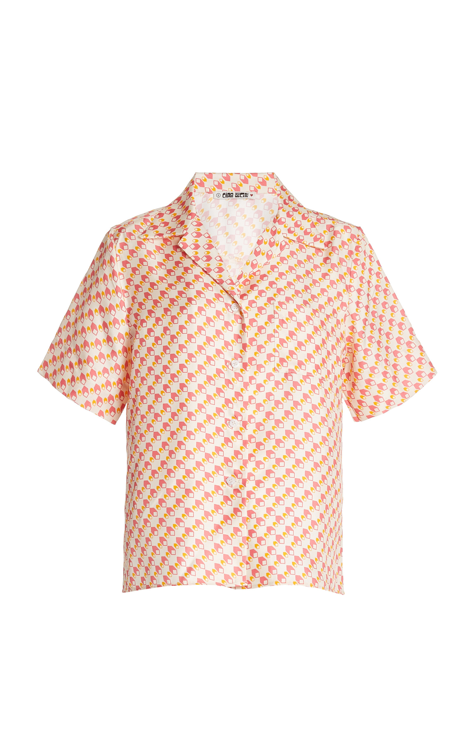 Women's Hester Printed Silk-Twill Shirt
