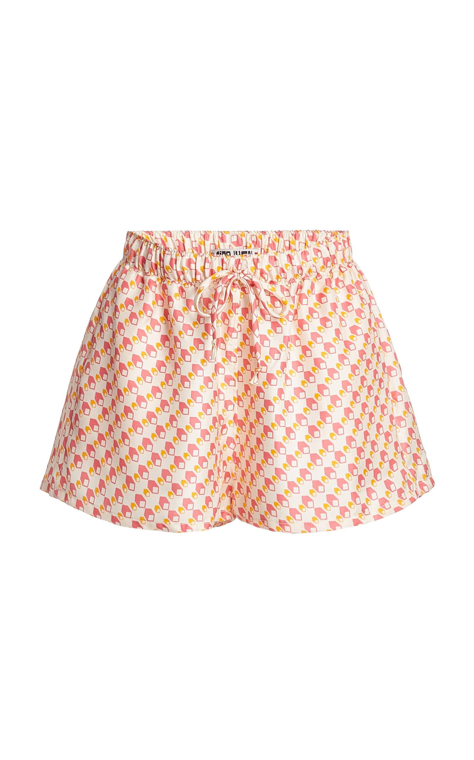 Women's Leo Printed Silk-Twill Shorts