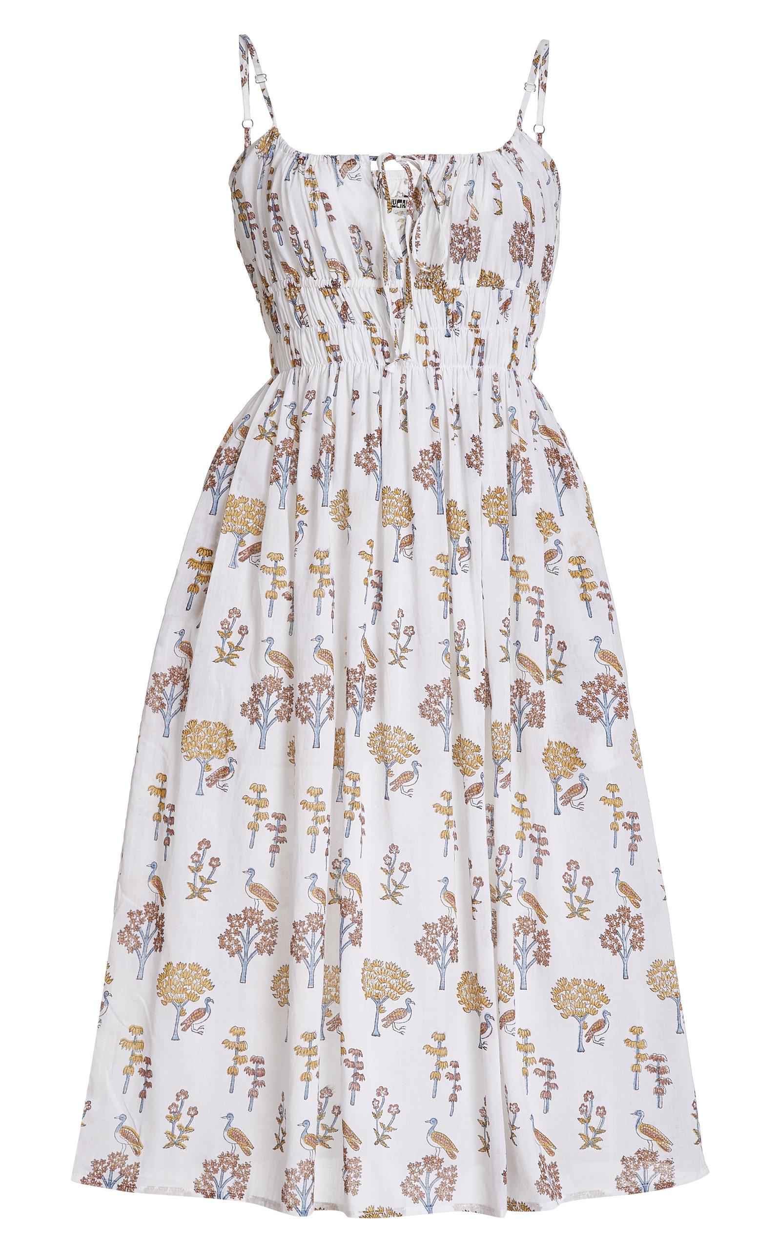 Women's Gabriela Smocked Printed Cotton Midi Dress